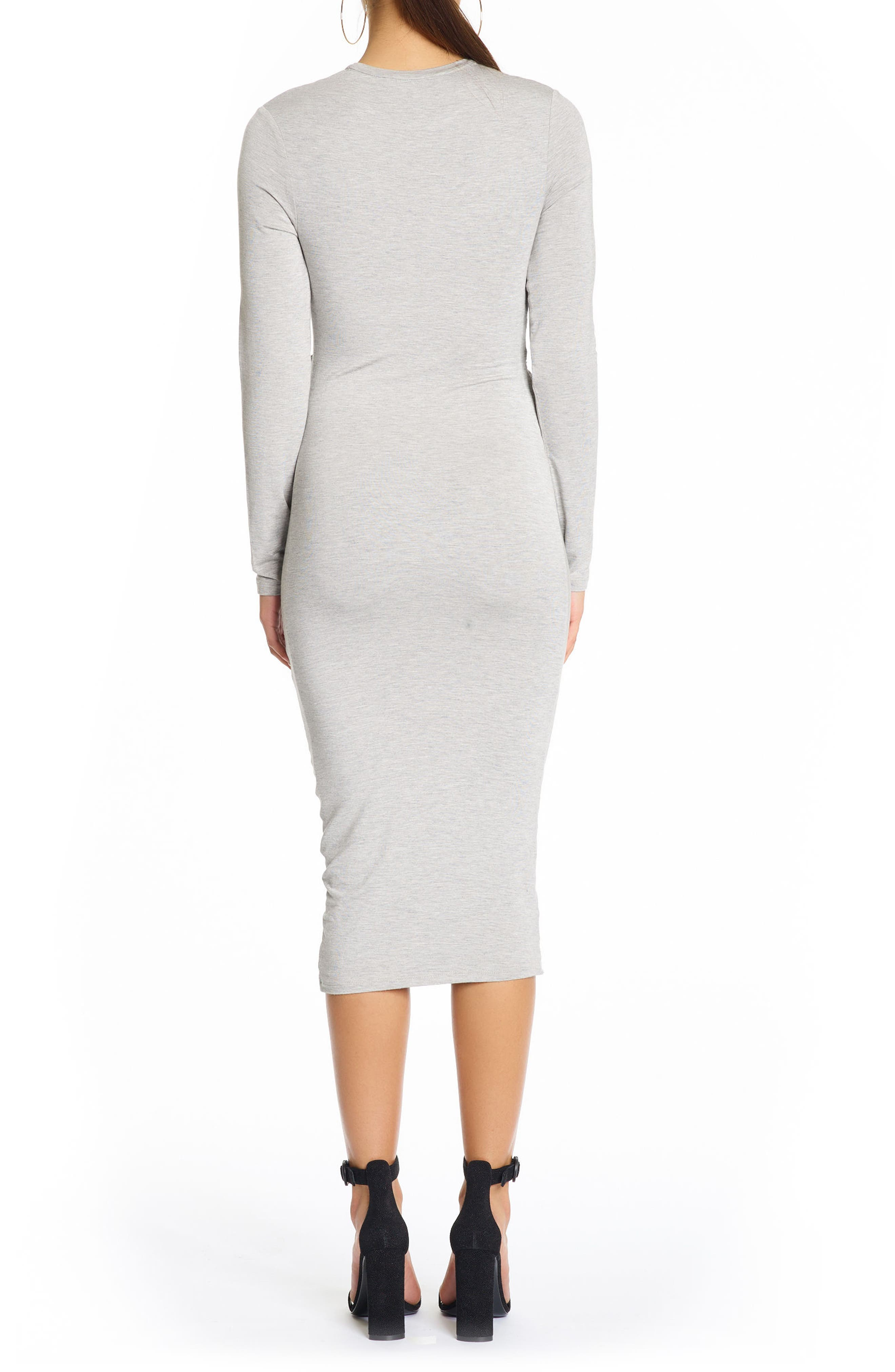 Long Sleeve Twist Dress,                             Alternate thumbnail 2, color,                             Medium Heather Grey