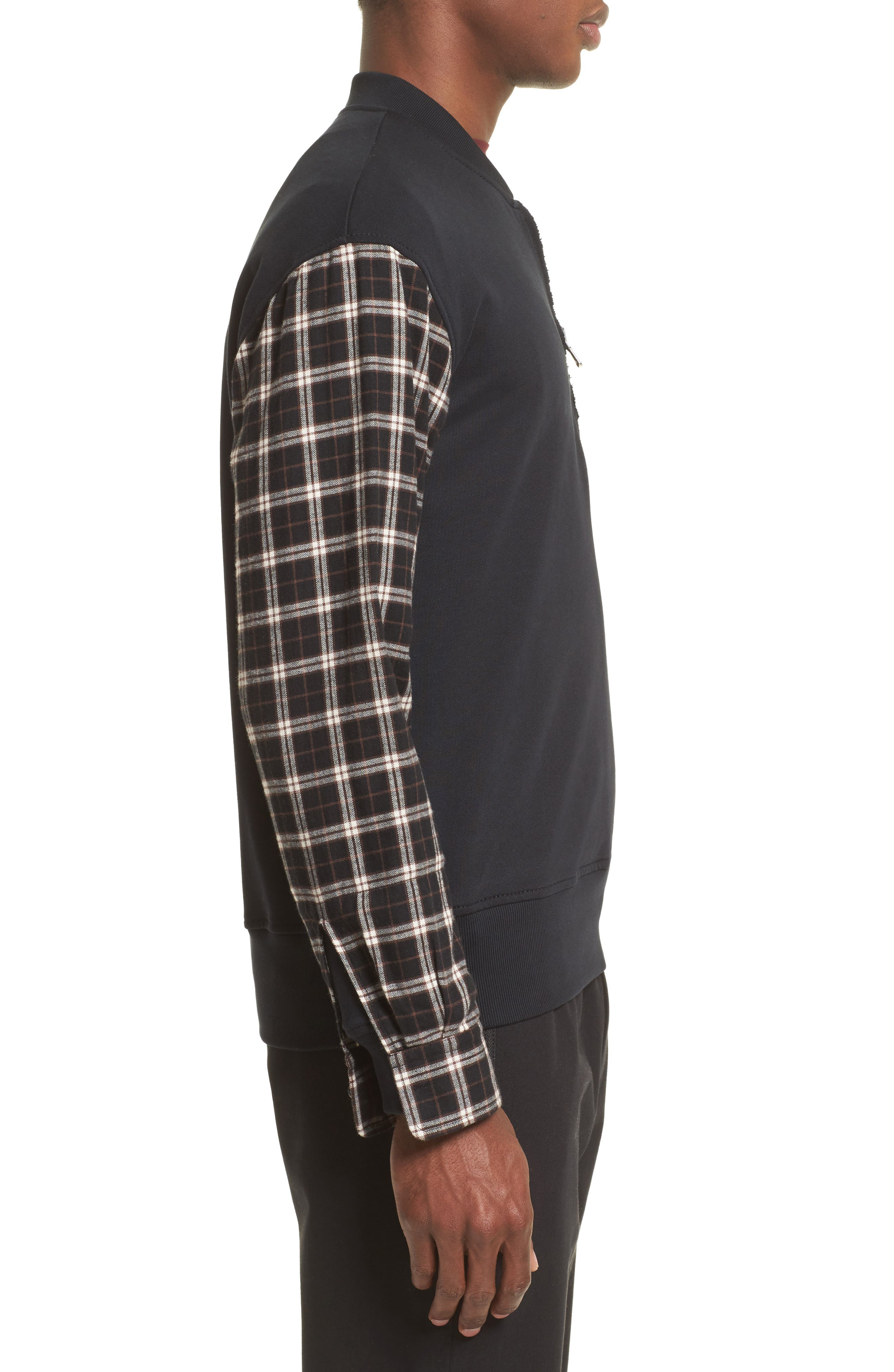 Pullover Bomber with Flannel Sleeves,                             Alternate thumbnail 3, color,                             Soft Black