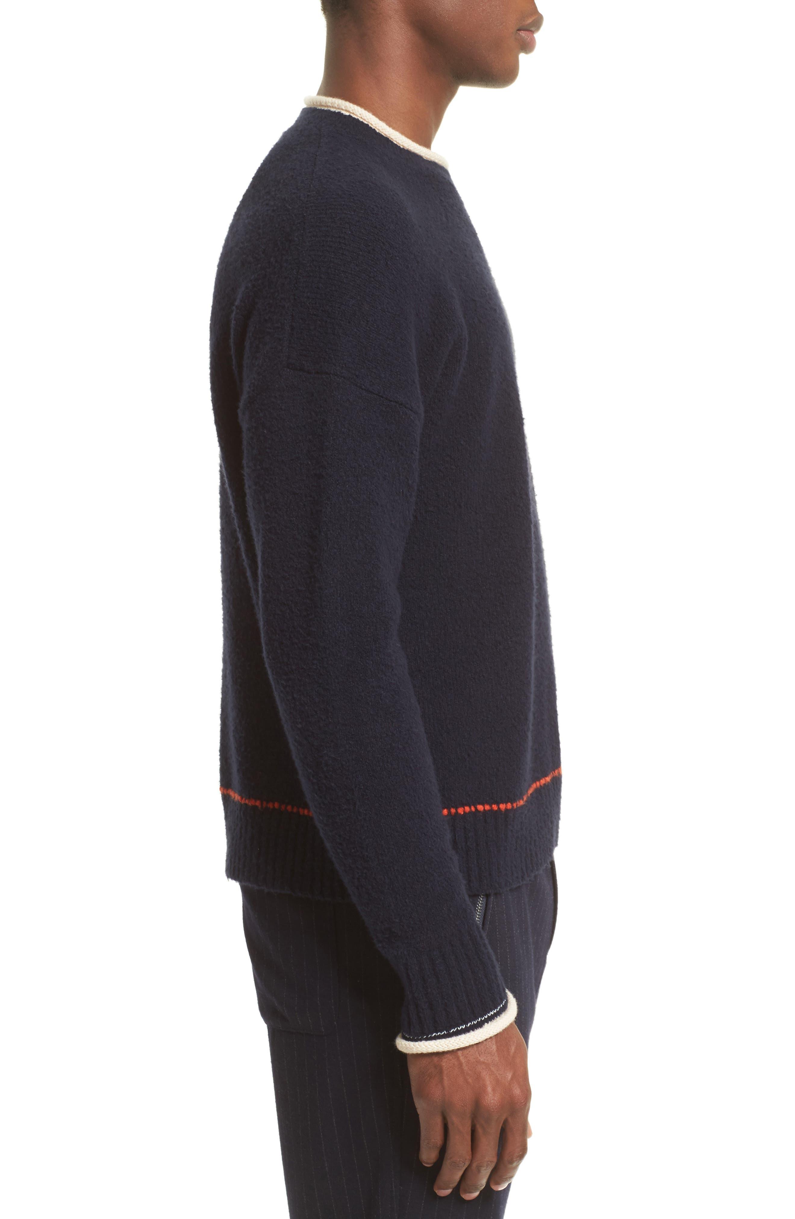 Plaited Sweater,                             Alternate thumbnail 3, color,                             Dark Navy