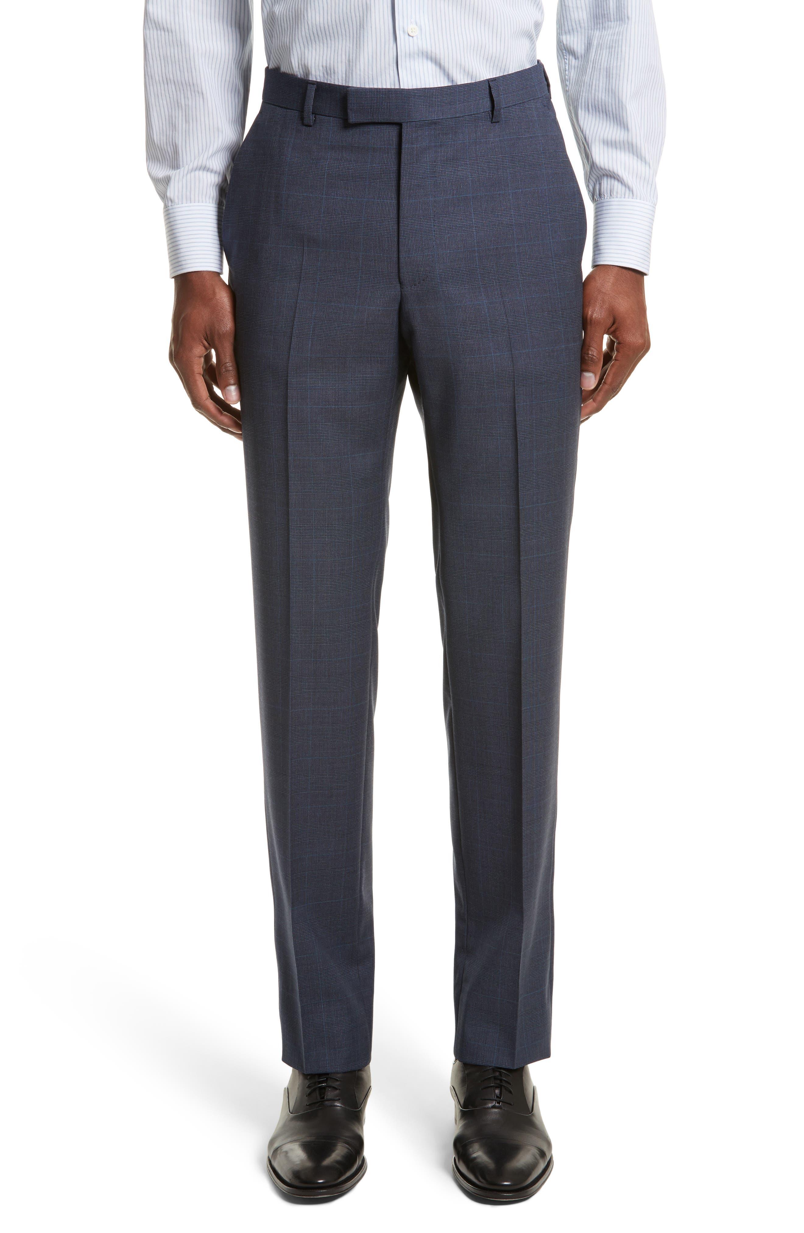 Drop 7 Trim Fit Plaid Wool Suit,                             Alternate thumbnail 6, color,                             Navy