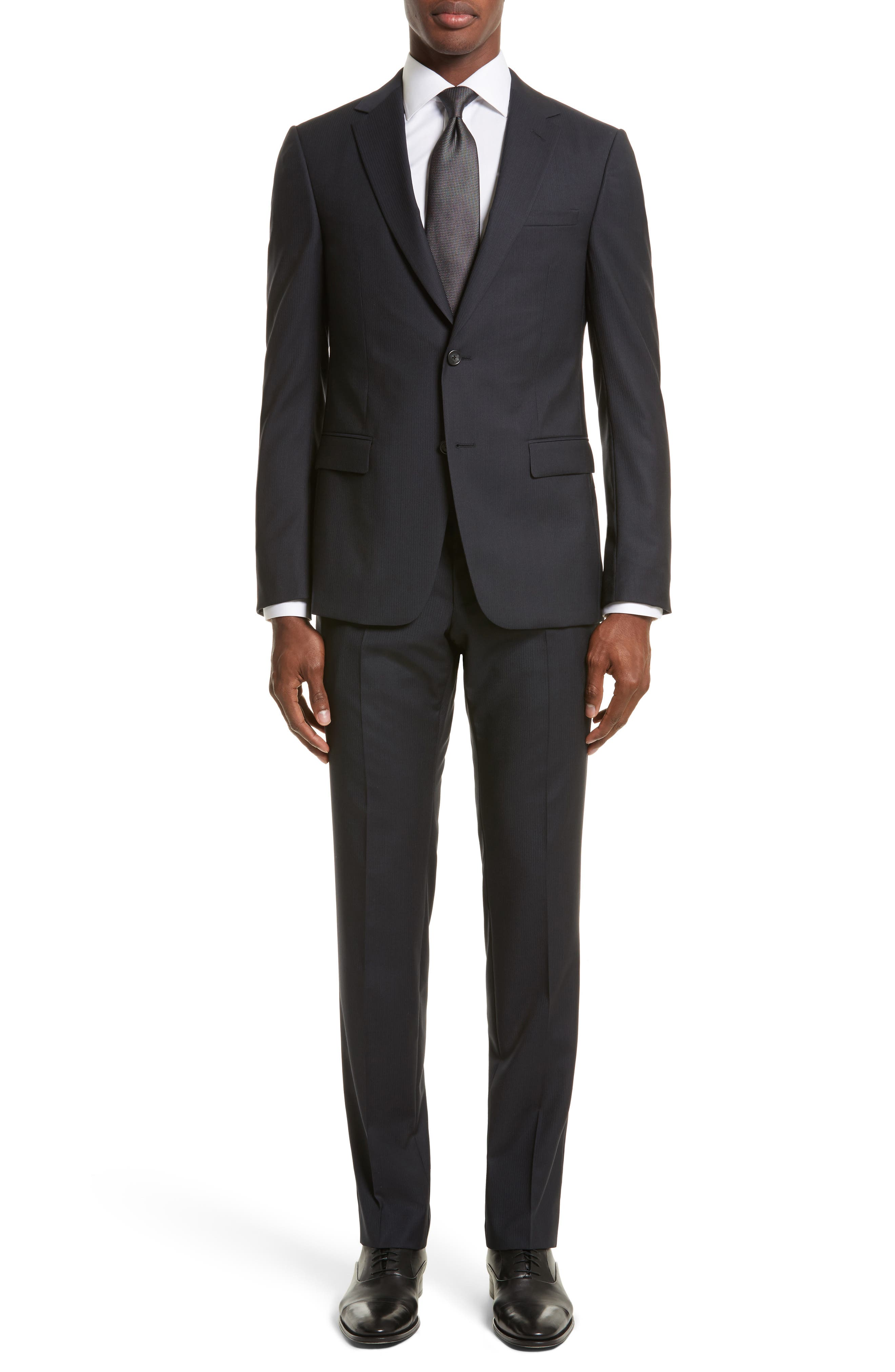Z Zegna Drop 8 Trim Fit Stripe Wool Suit