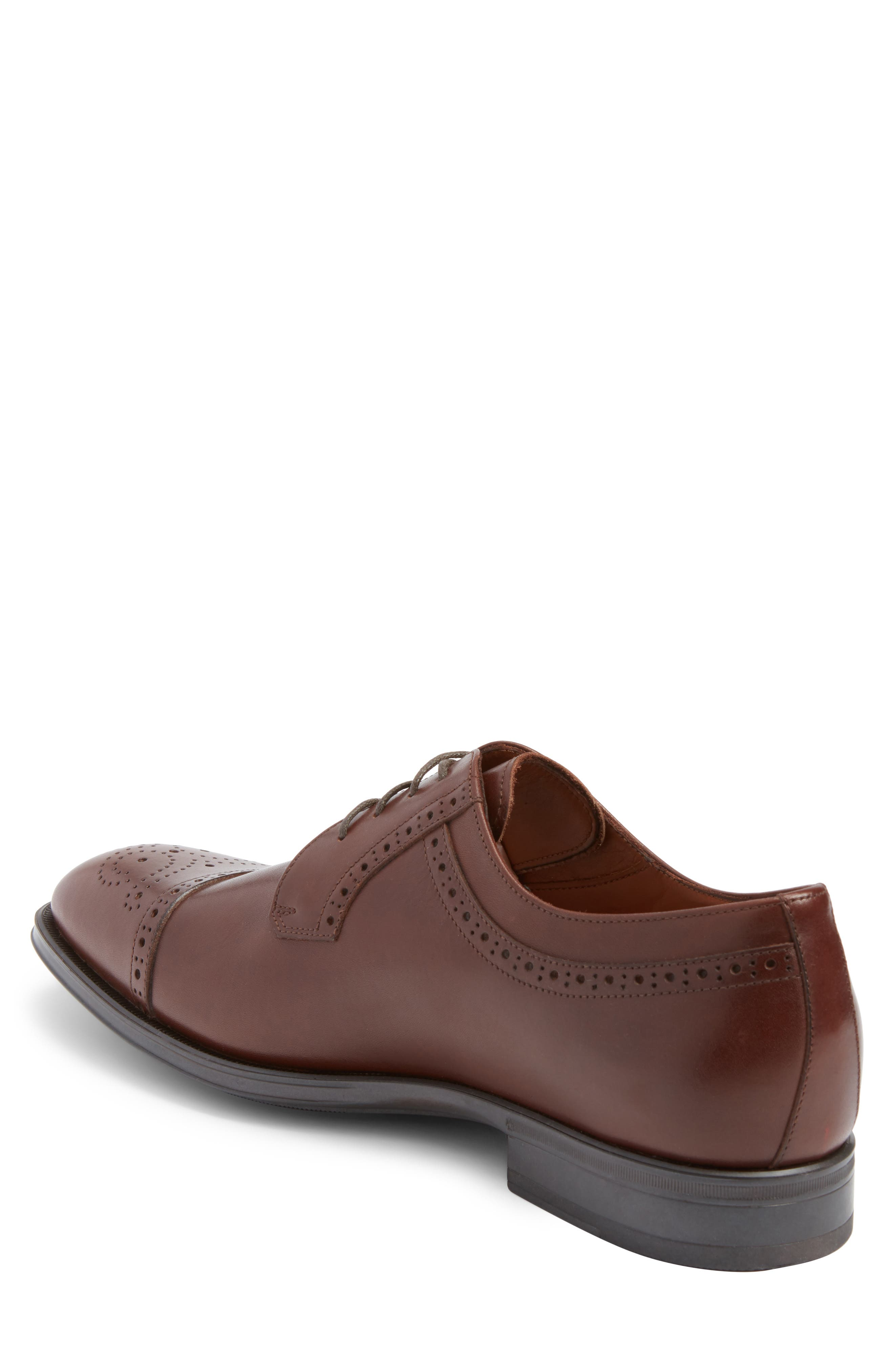 Duke Medallion Toe Derby,                             Alternate thumbnail 2, color,                             Burnished Cognac Leather