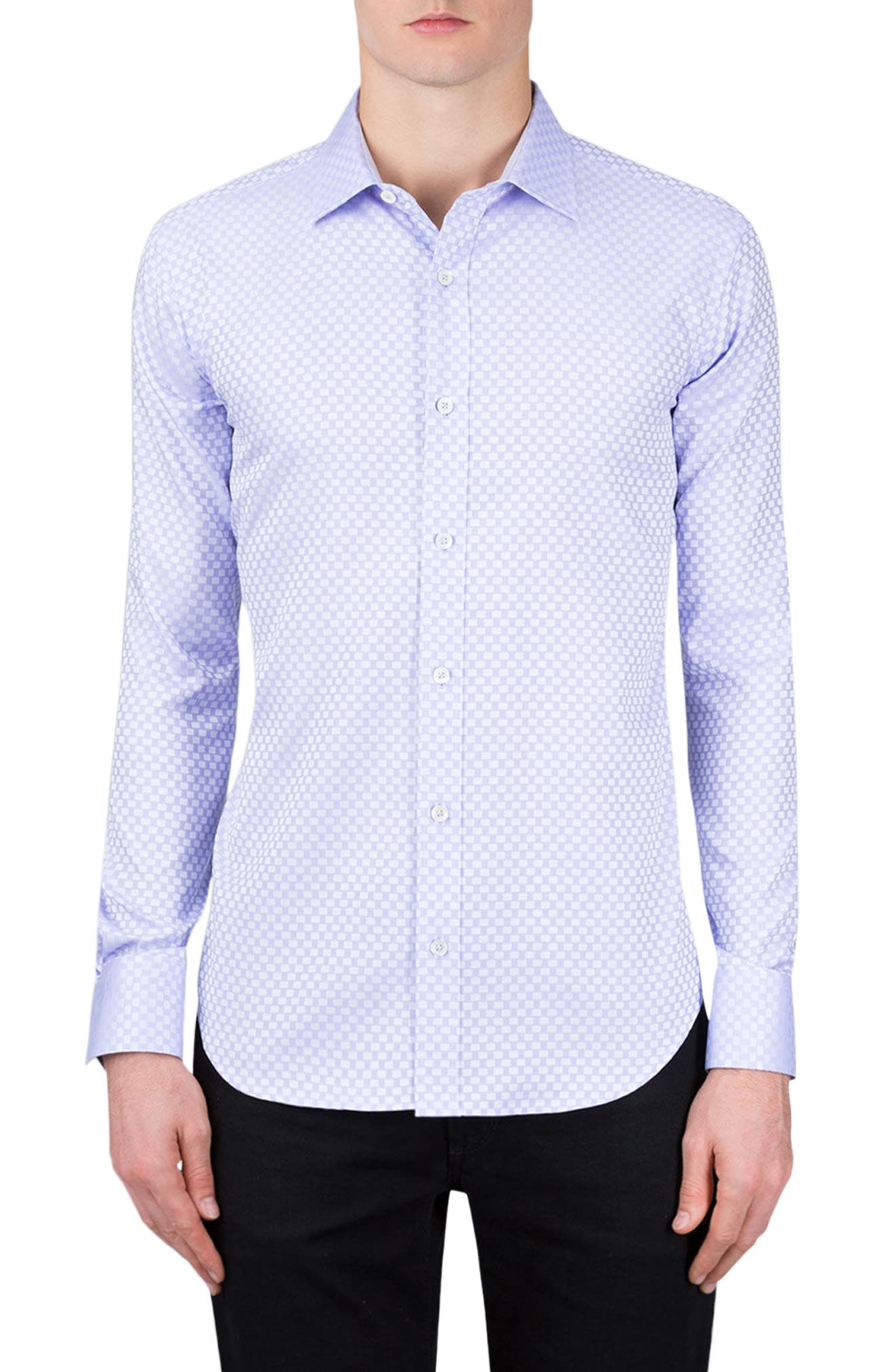 Shaped Fit Rectangle Jacquard Sport Shirt,                             Main thumbnail 1, color,                             Lavender