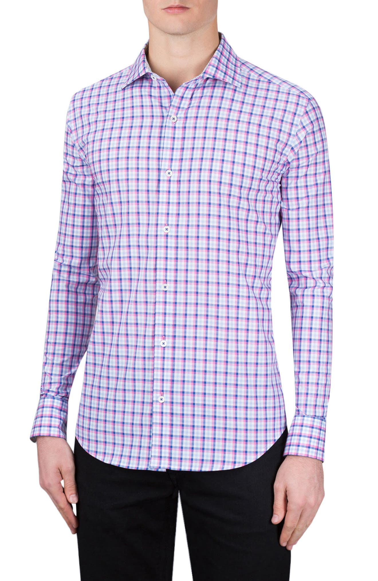 Shaped Fit Check Sport Shirt,                         Main,                         color, Pink