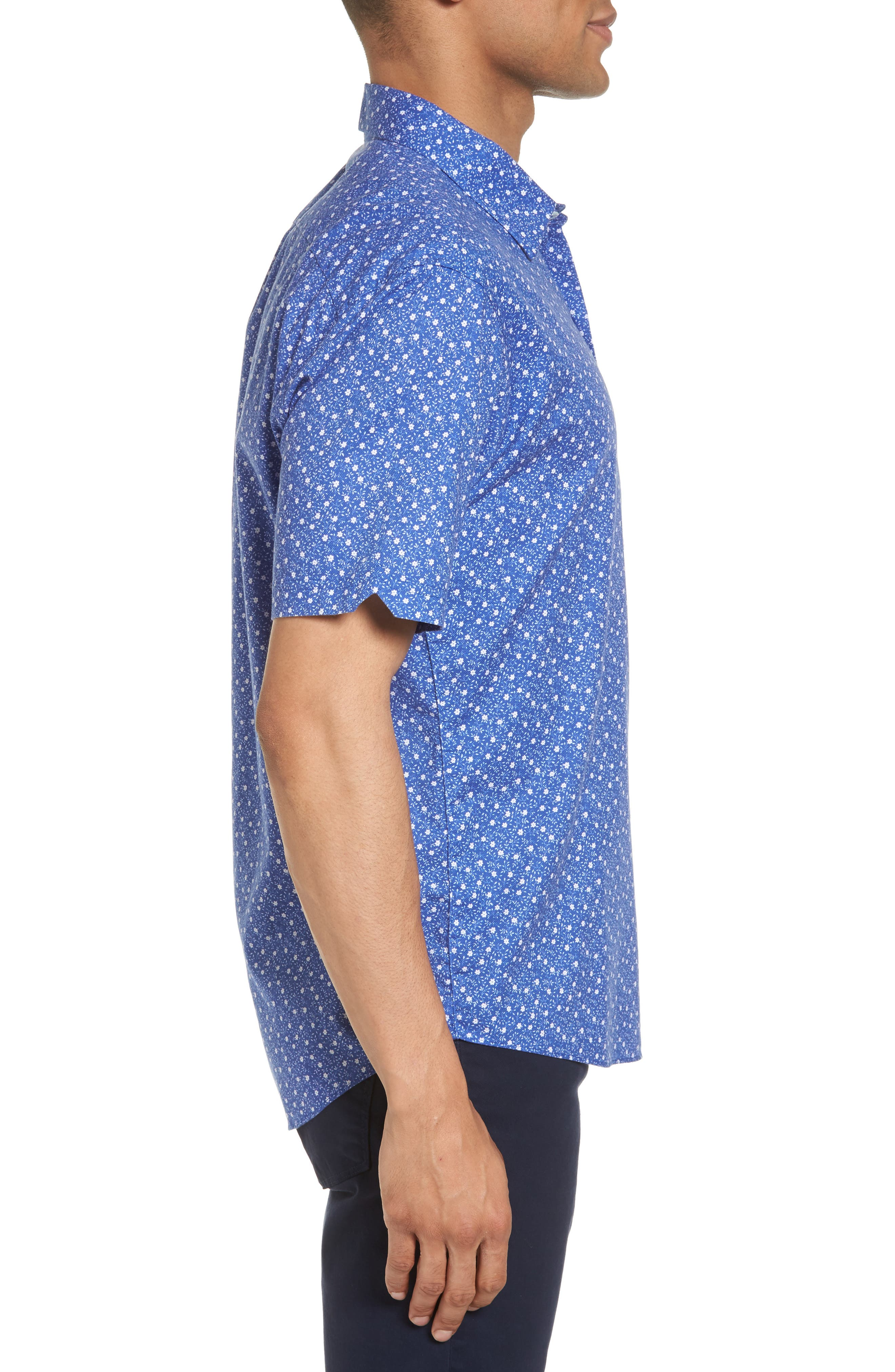 Floral Print Short Sleeve Sport Shirt,                             Alternate thumbnail 4, color,                             Blue