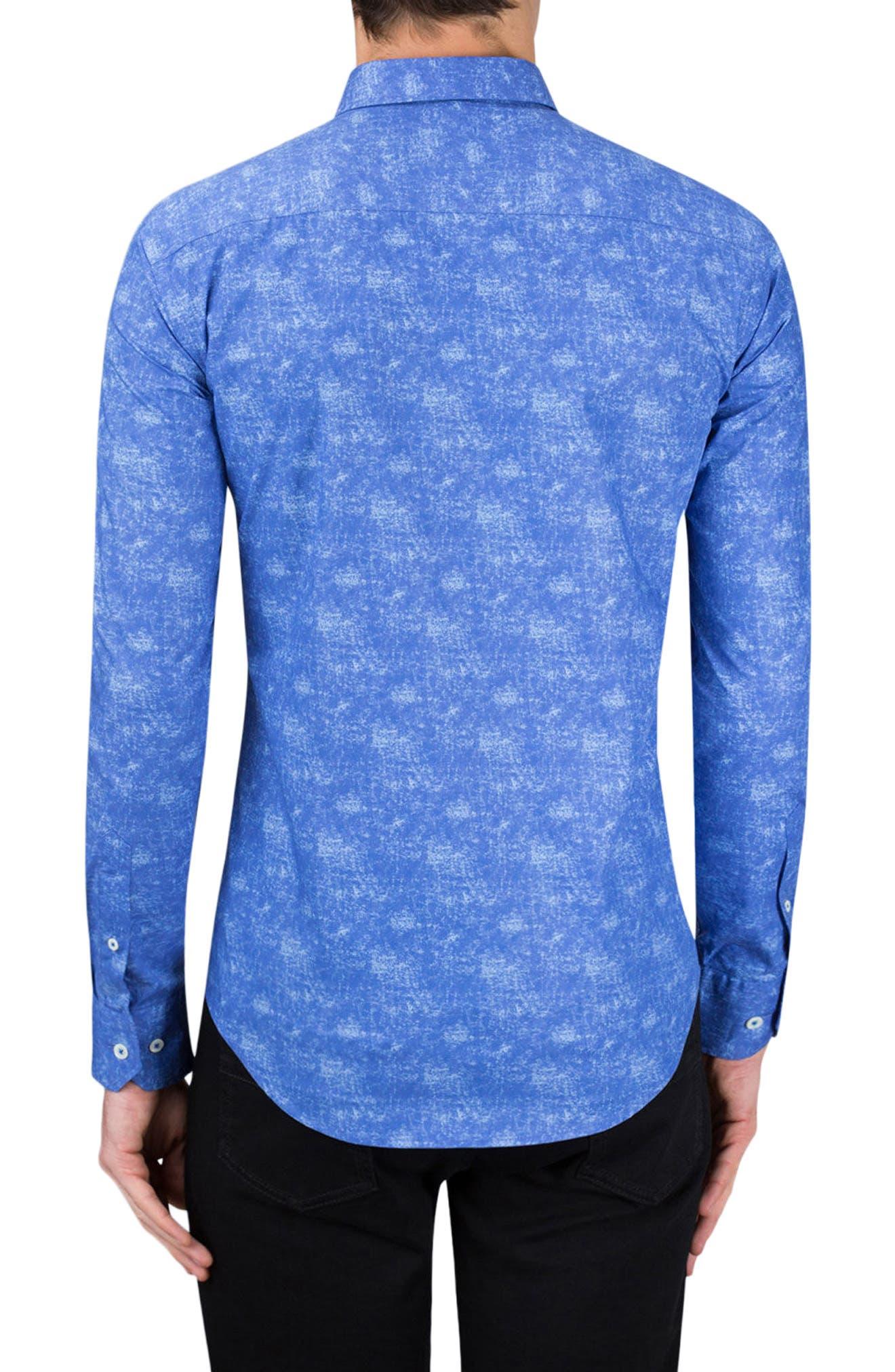 Shaped Fit Print Sport Shirt,                             Alternate thumbnail 2, color,                             Night Blue
