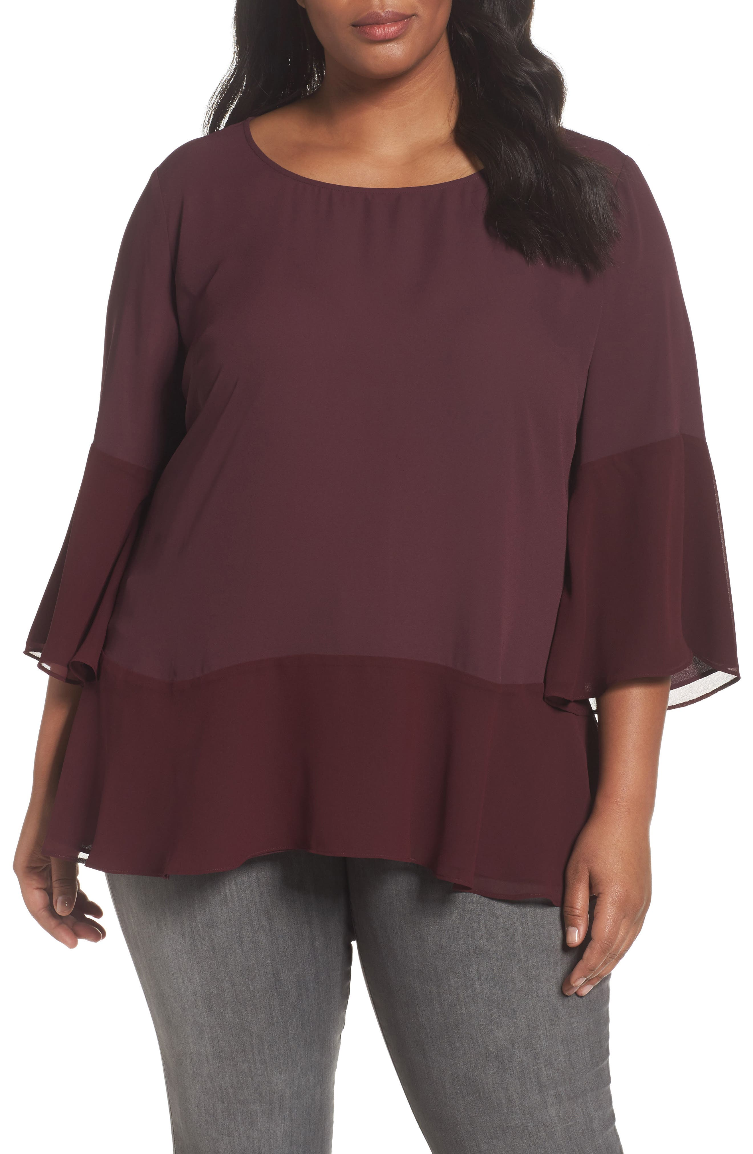 Flare Sleeve Double Layer Top,                         Main,                         color, Burgundy Stem