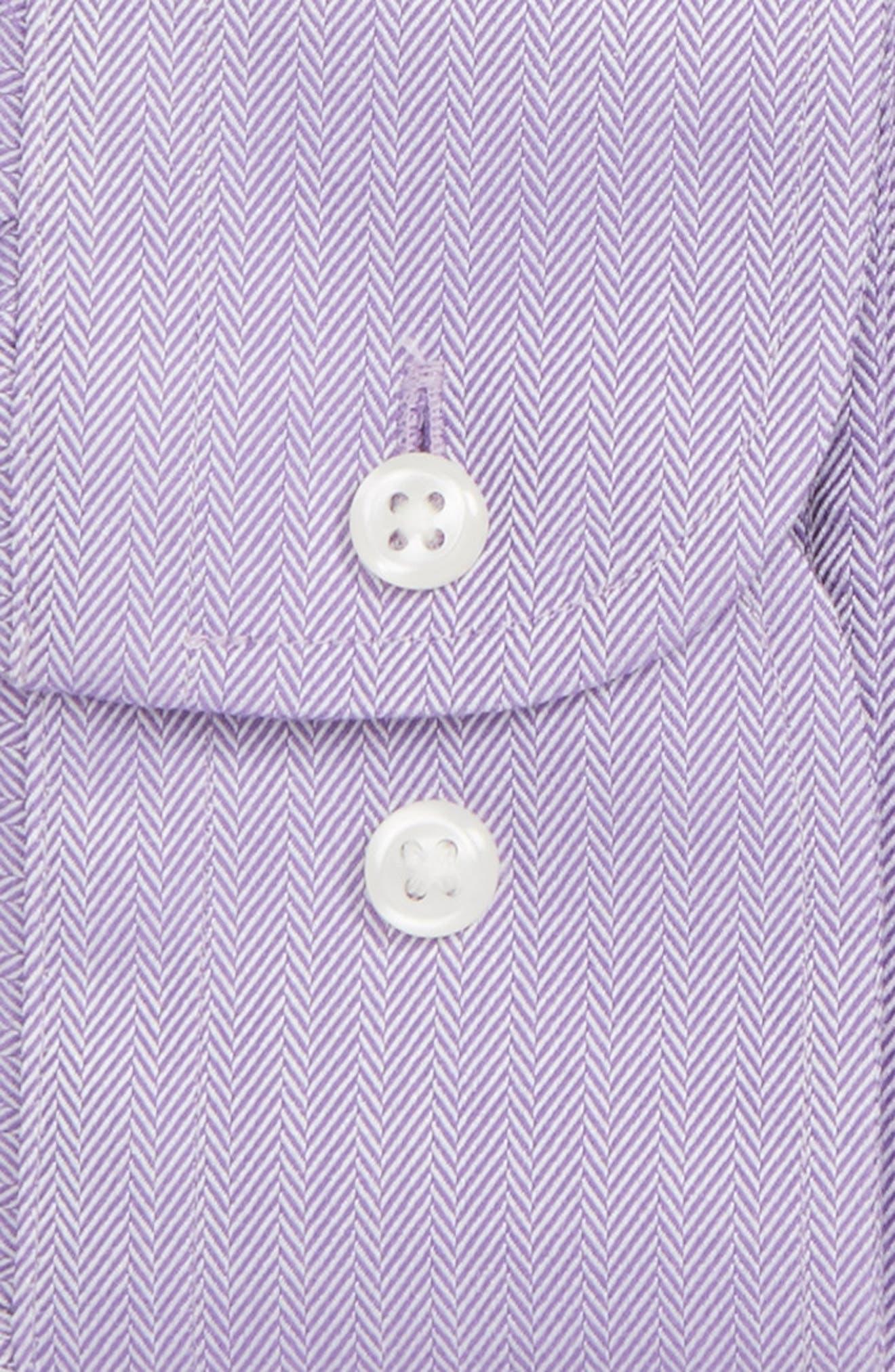 Smartcare<sup>™</sup> Trim Fit Herringbone Dress Shirt,                             Alternate thumbnail 4, color,                             Lavender