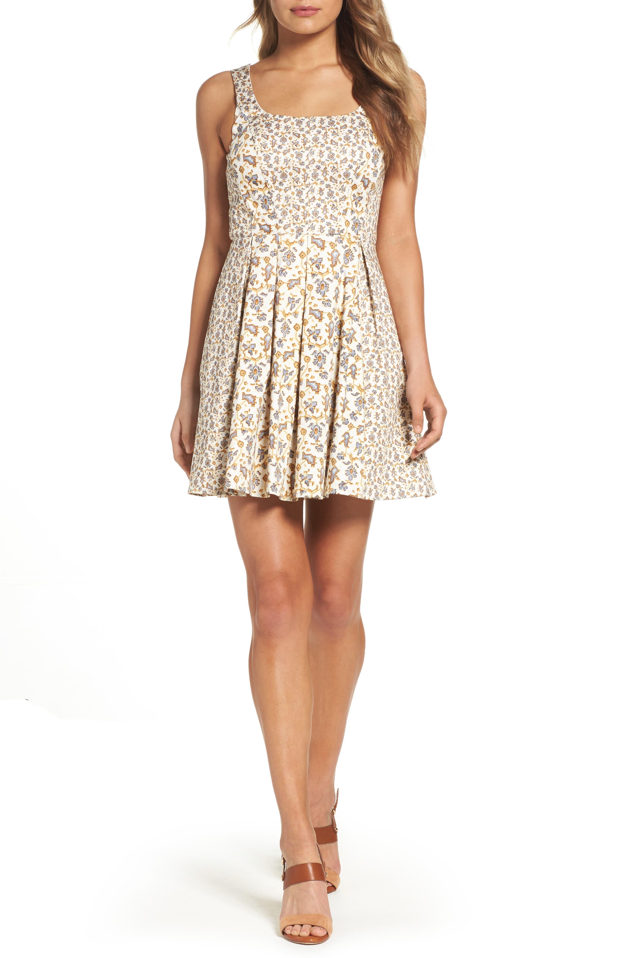 Niko Fit & Flare Dress,                         Main,                         color, Summer White Multi