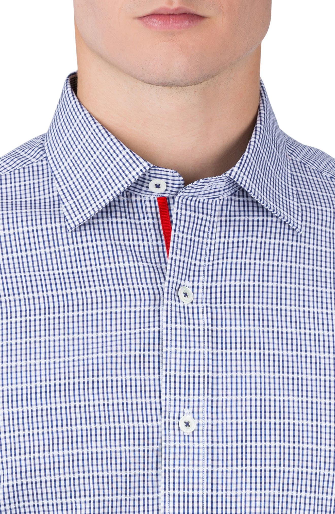 Classic Fit Check Sport Shirt,                             Alternate thumbnail 3, color,                             Navy