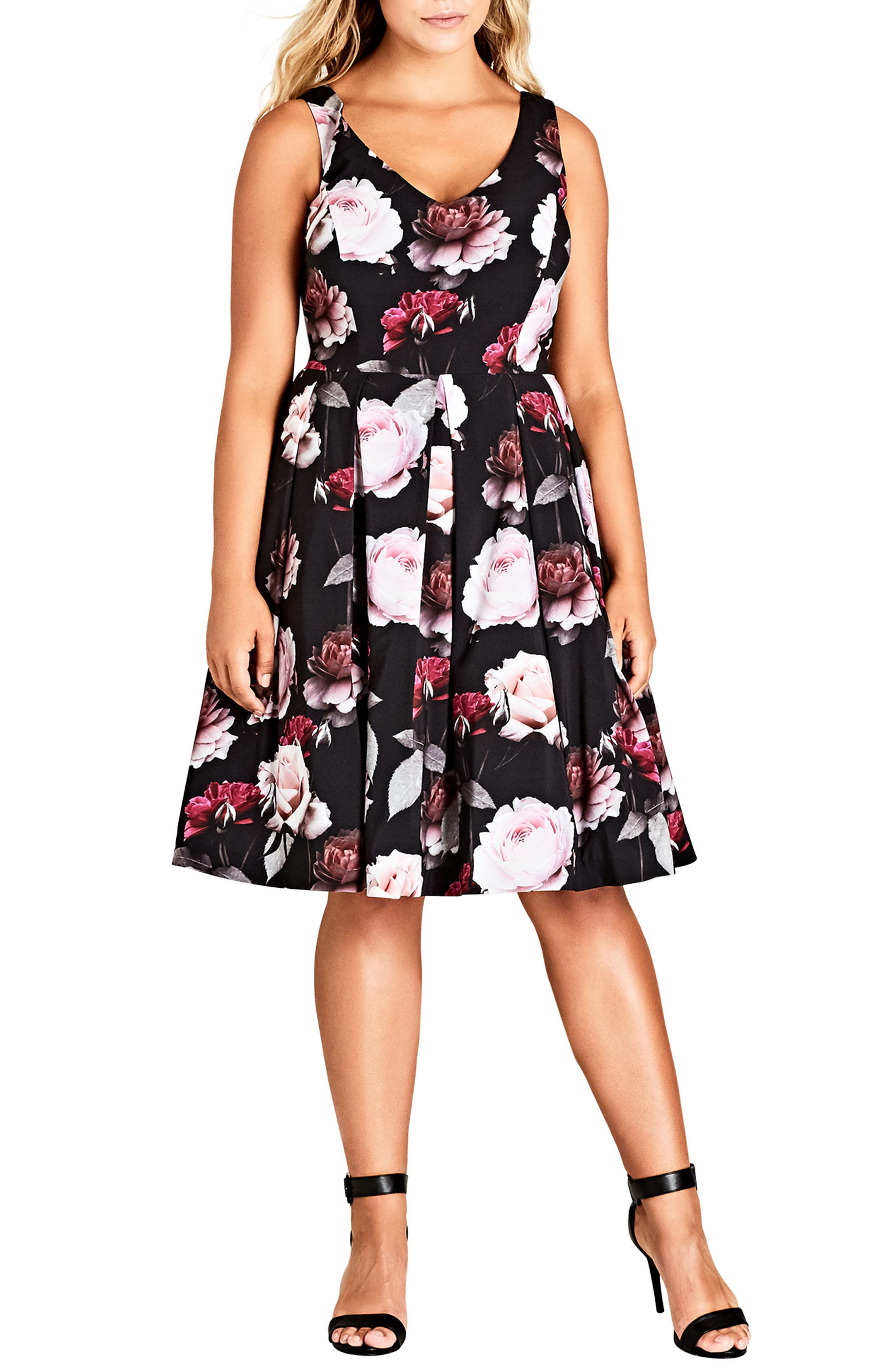 City Chic Pretty in Pink Fit & Flare Dress (Plus Size)