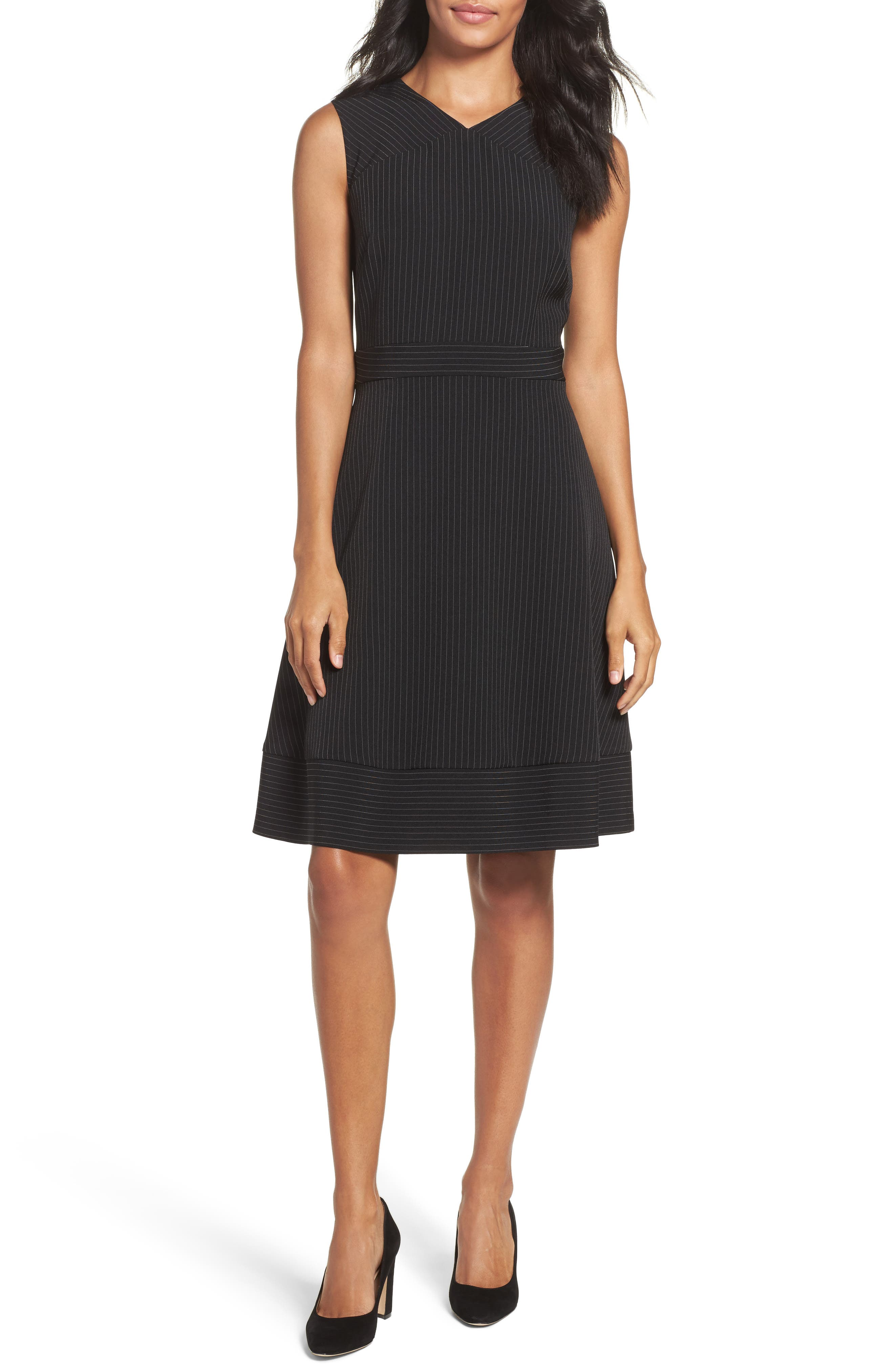 Tahari Pinstripe Fit & Flare Dress (Regular & Petite)