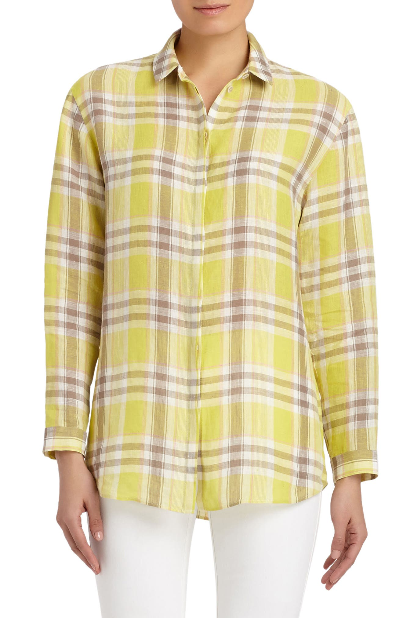Lafayette 148 New York Sabira Plaid Blouse