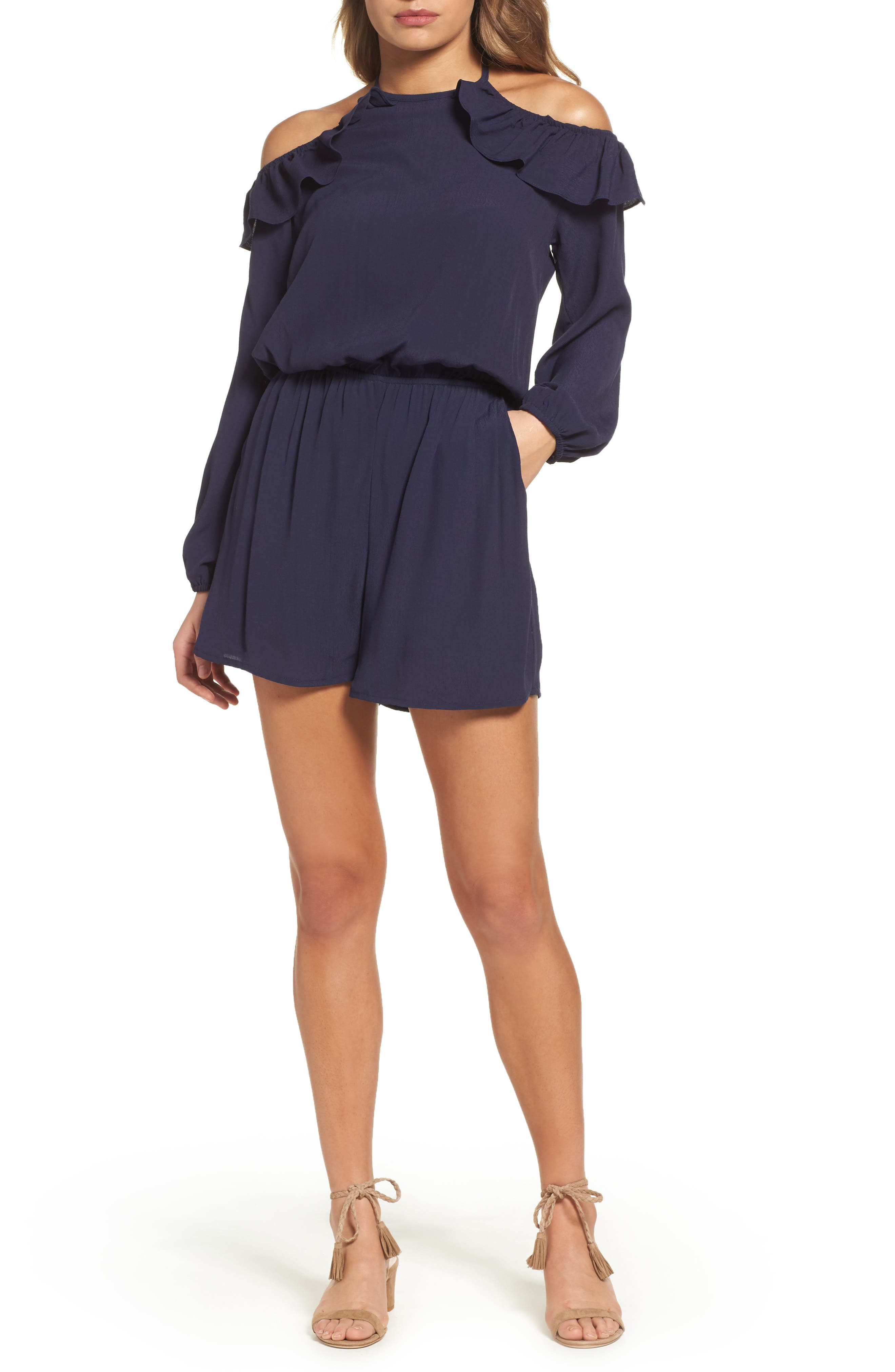 Cold Shoulder Romper,                         Main,                         color, Navy