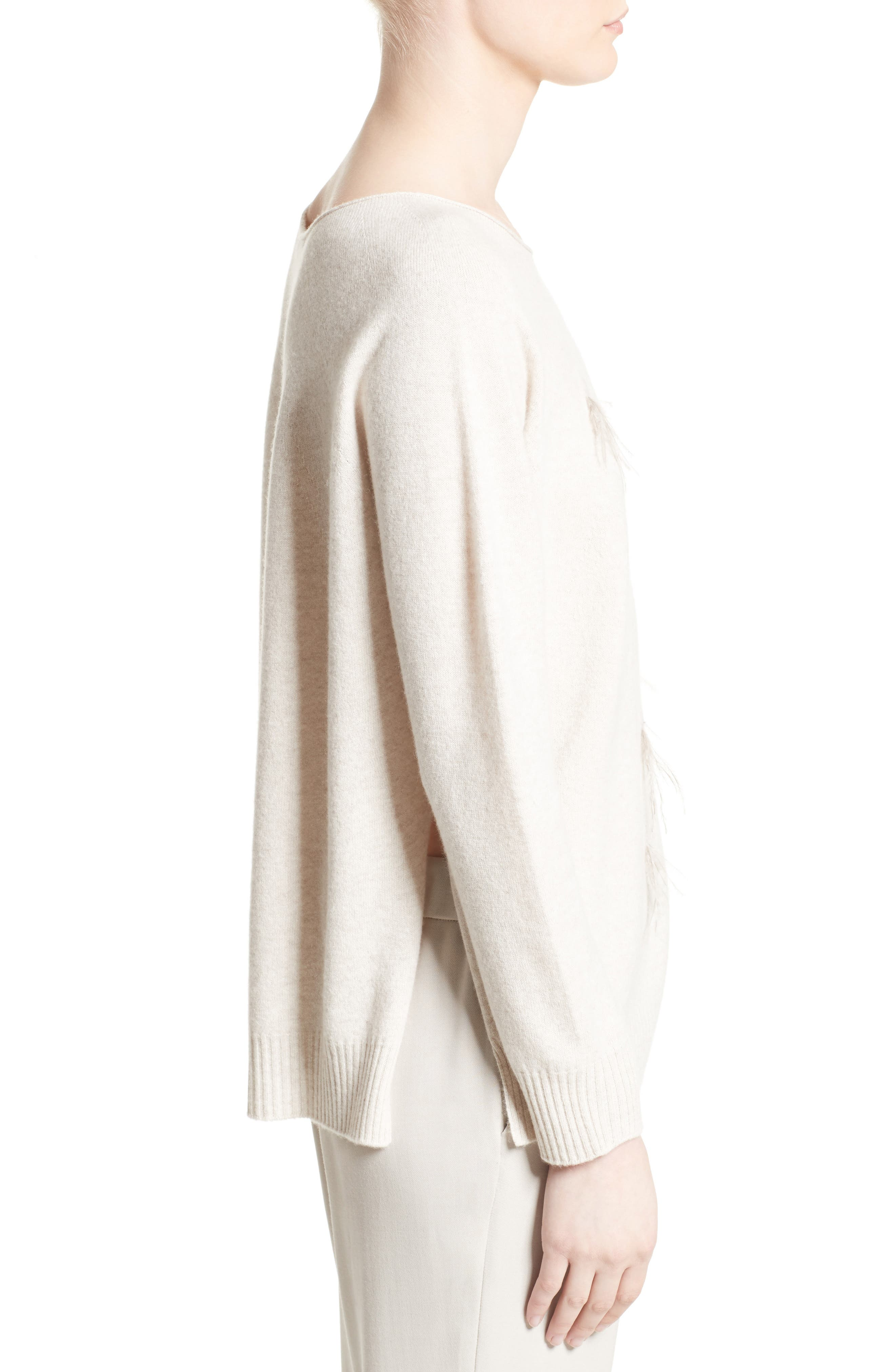 Needle Punch Ostrich Feather Trim Sweater,                             Alternate thumbnail 5, color,                             Oatmeal
