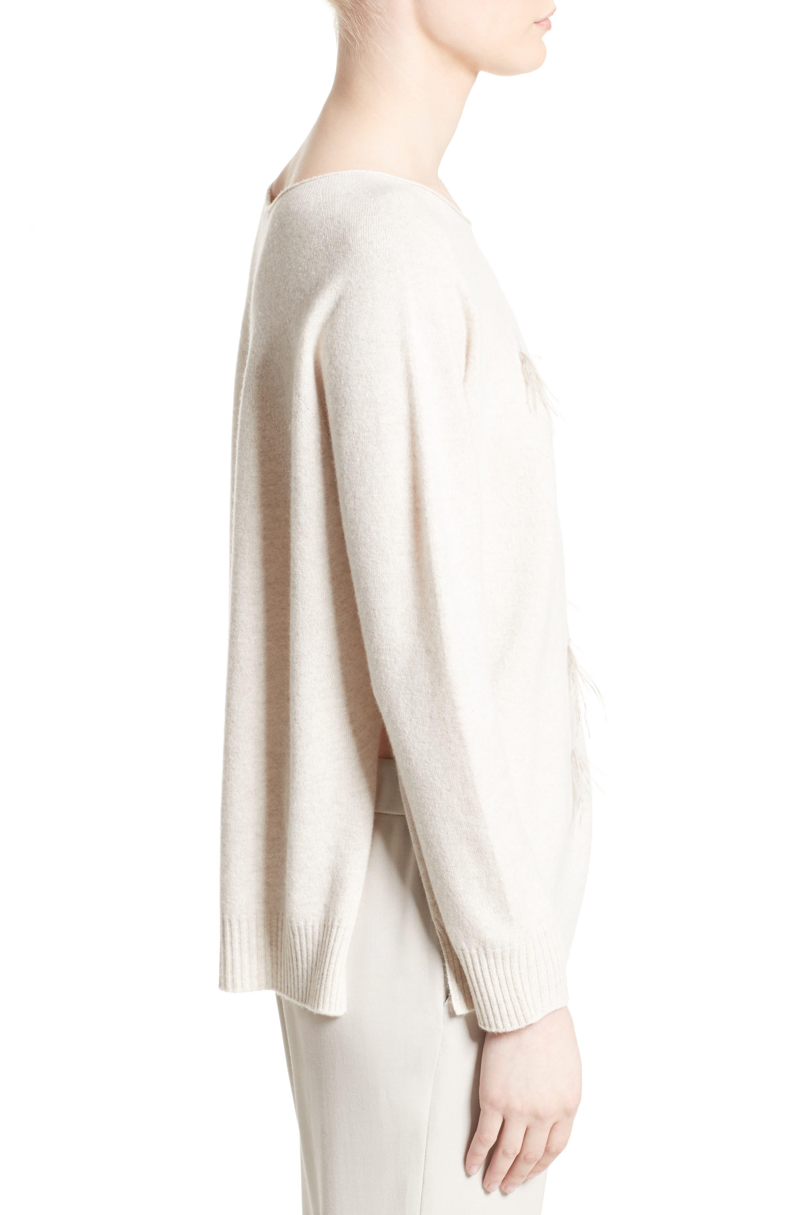 Alternate Image 5  - Fabiana Filippi Needle Punch Ostrich Feather Trim Sweater