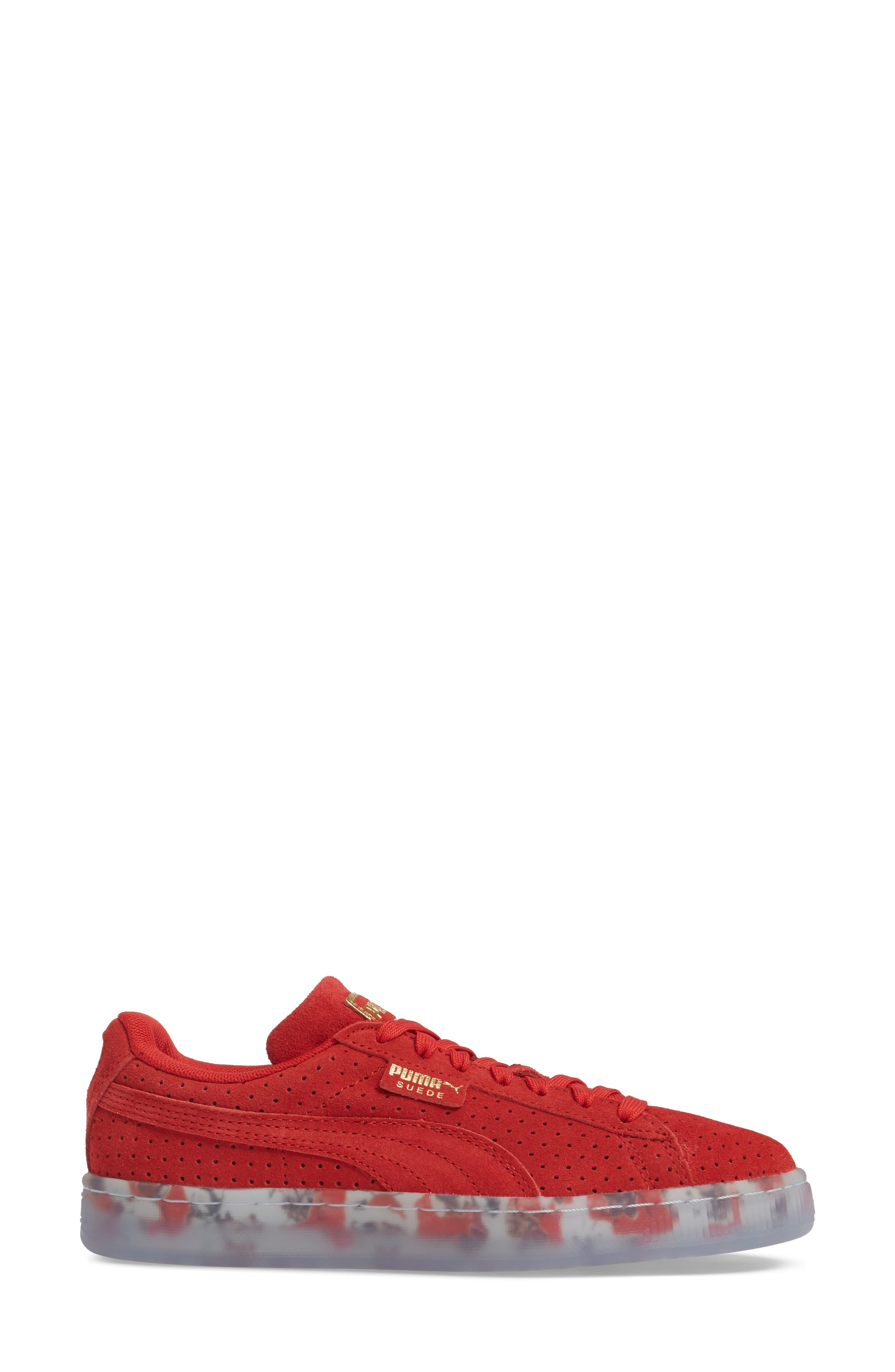 Suede Classic Perforated Sneaker,                             Alternate thumbnail 3, color,                             High Risk Red/ Puma White