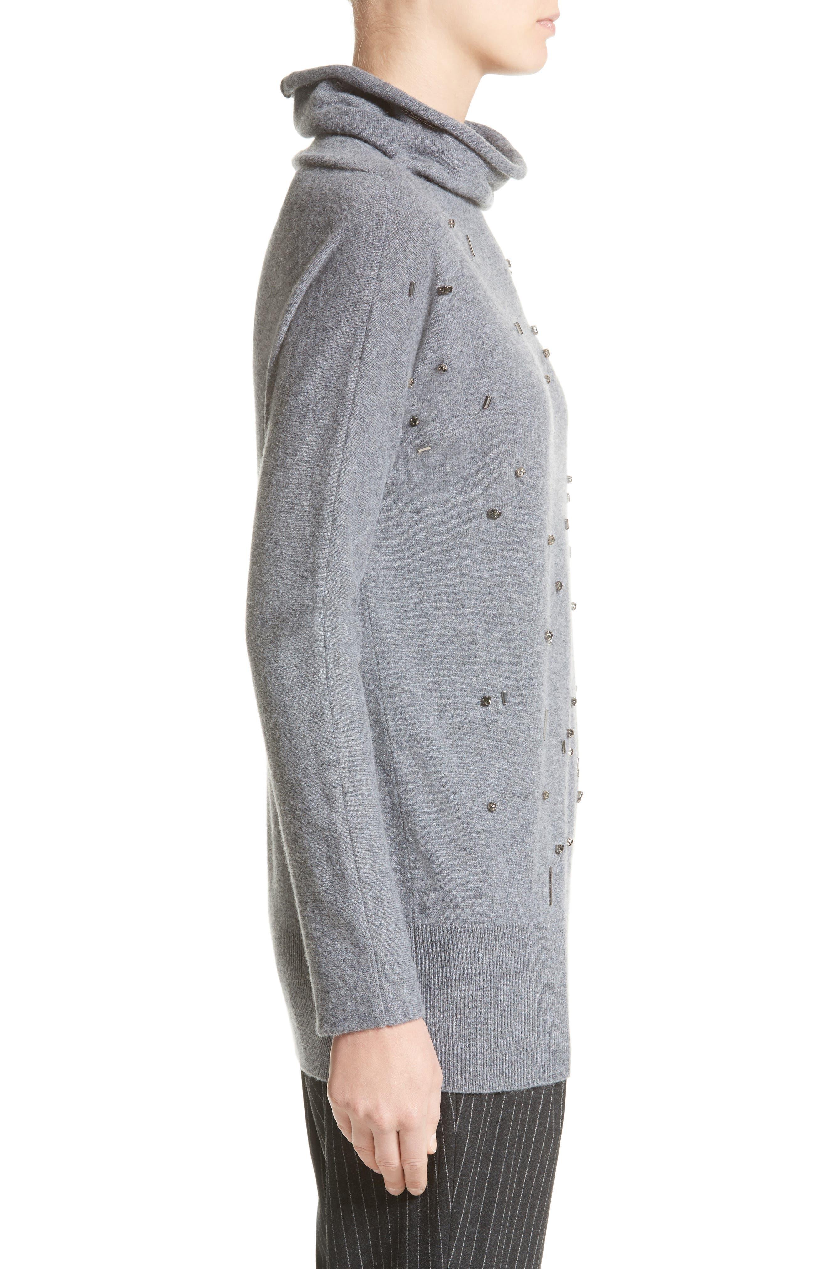 Embellished Cashmere Turtleneck Sweater,                             Alternate thumbnail 5, color,                             Grey