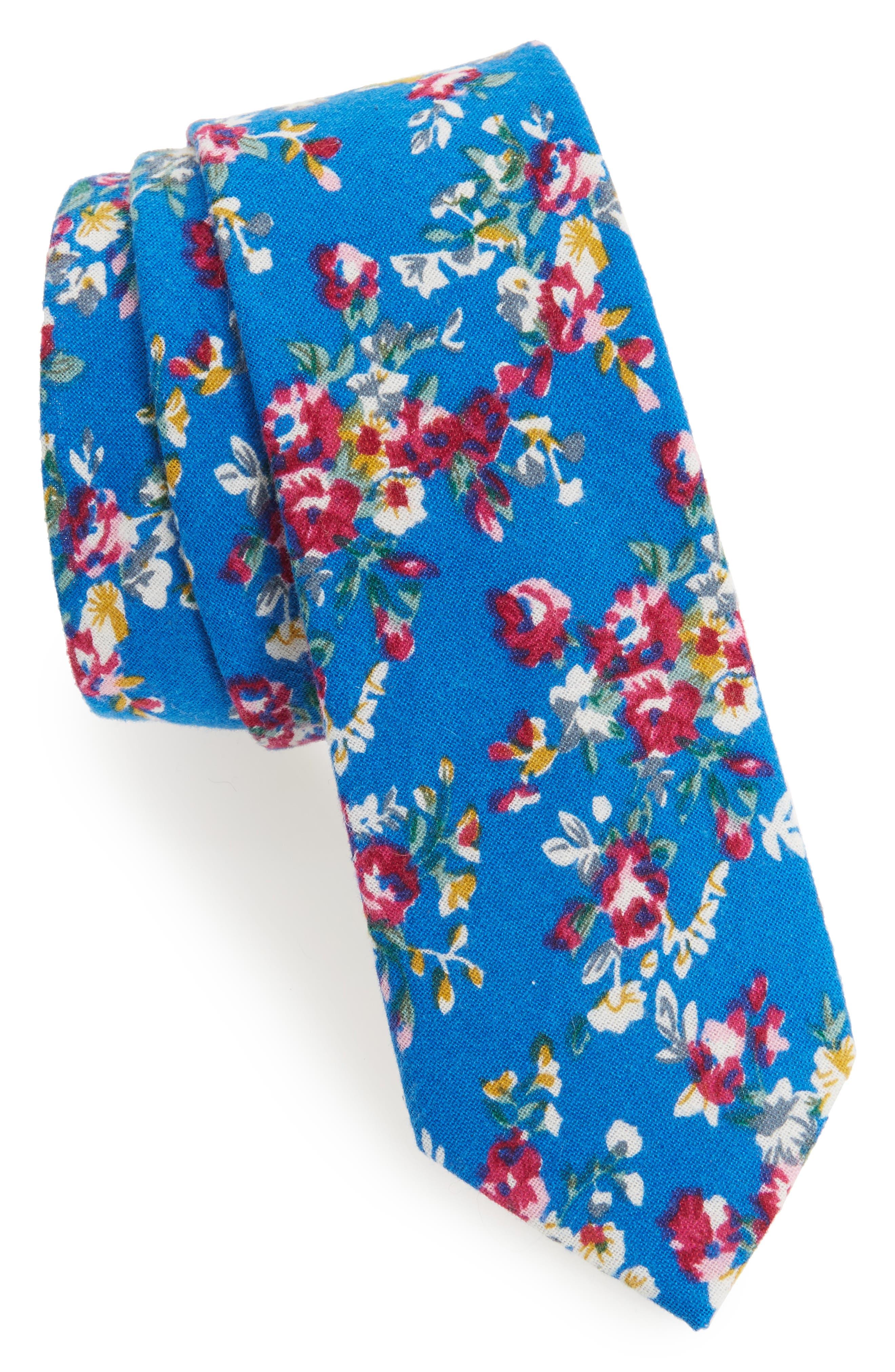 1901 Floral Print Cotton Tie