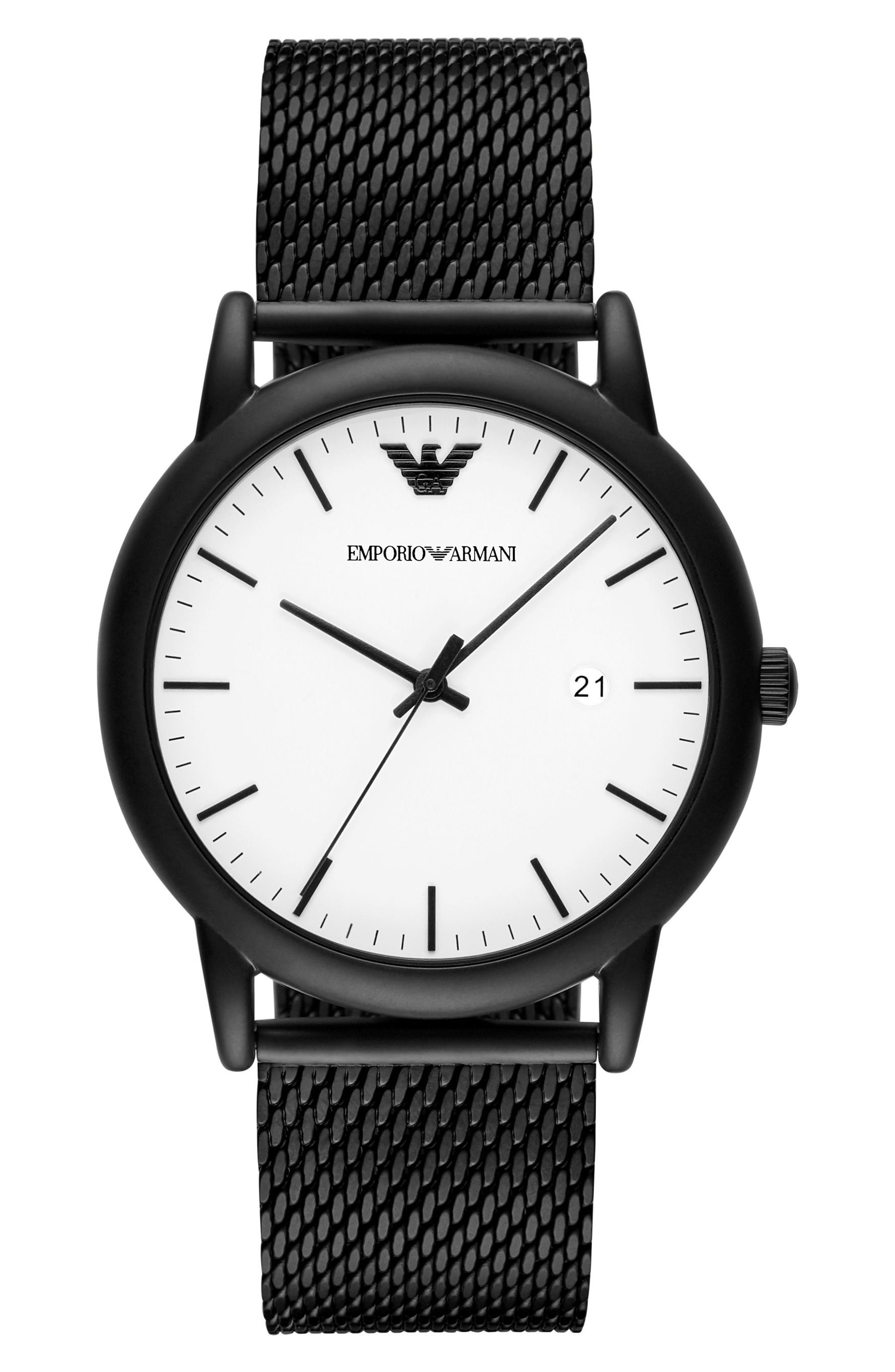 EMPORIO ARMANI Mesh Strap Watch, 43mm