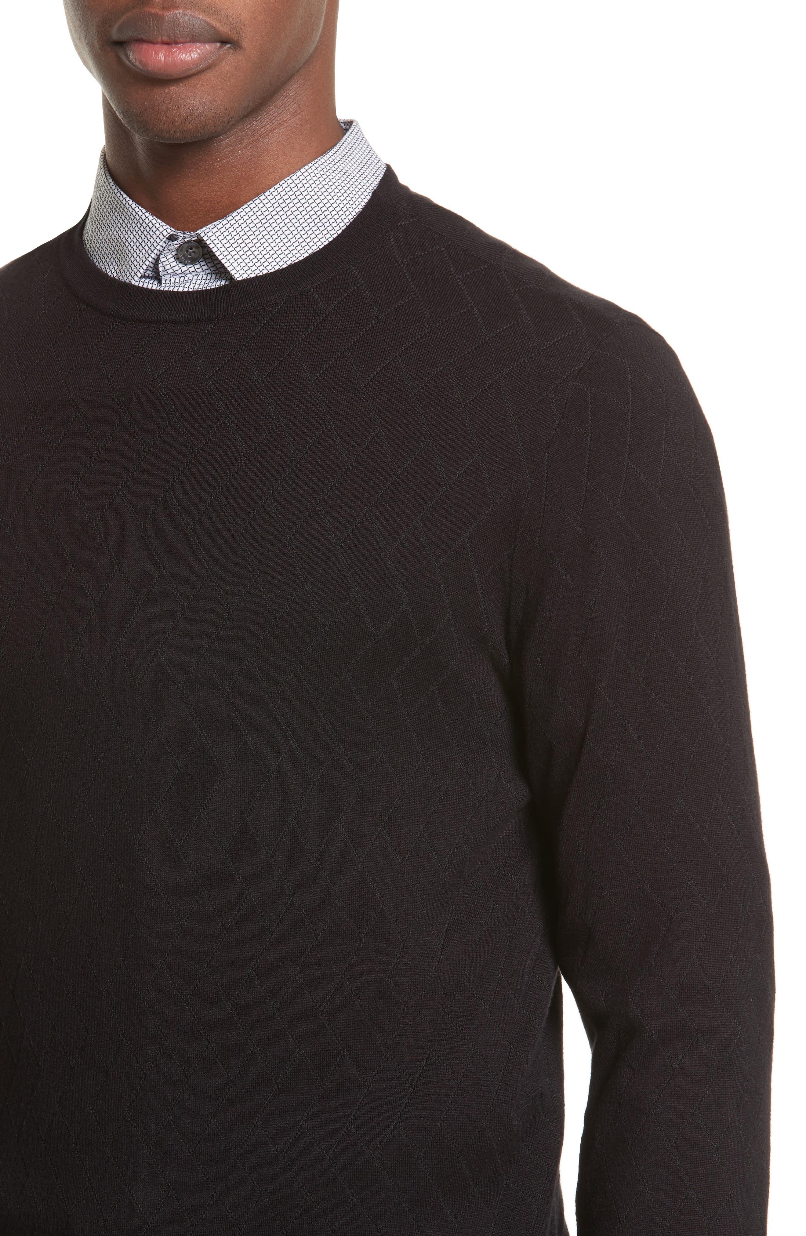 Plated Crewneck Sweater,                             Alternate thumbnail 4, color,                             Black