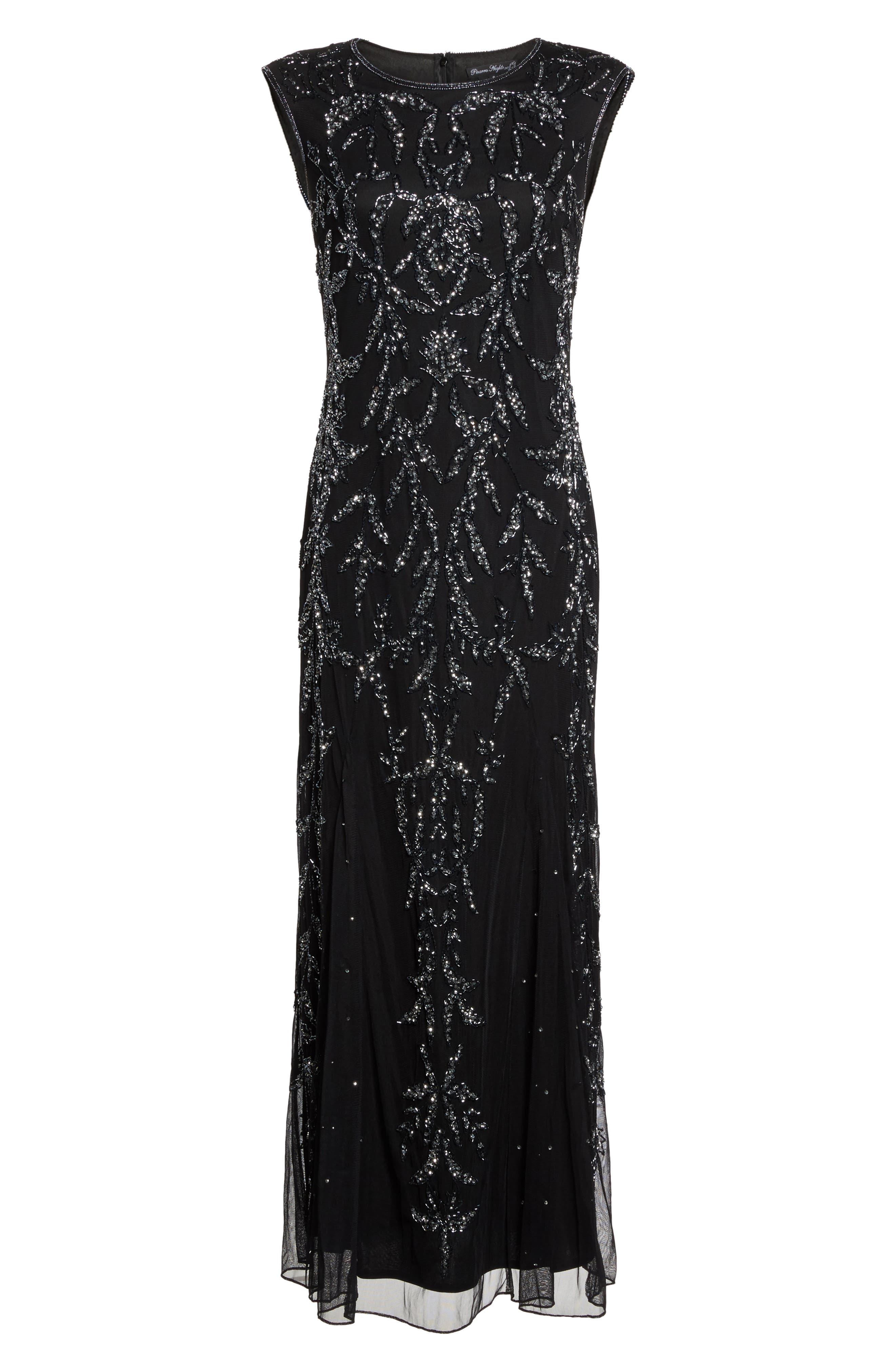 Floral Motif Embellished Gown,                             Alternate thumbnail 6, color,                             Black