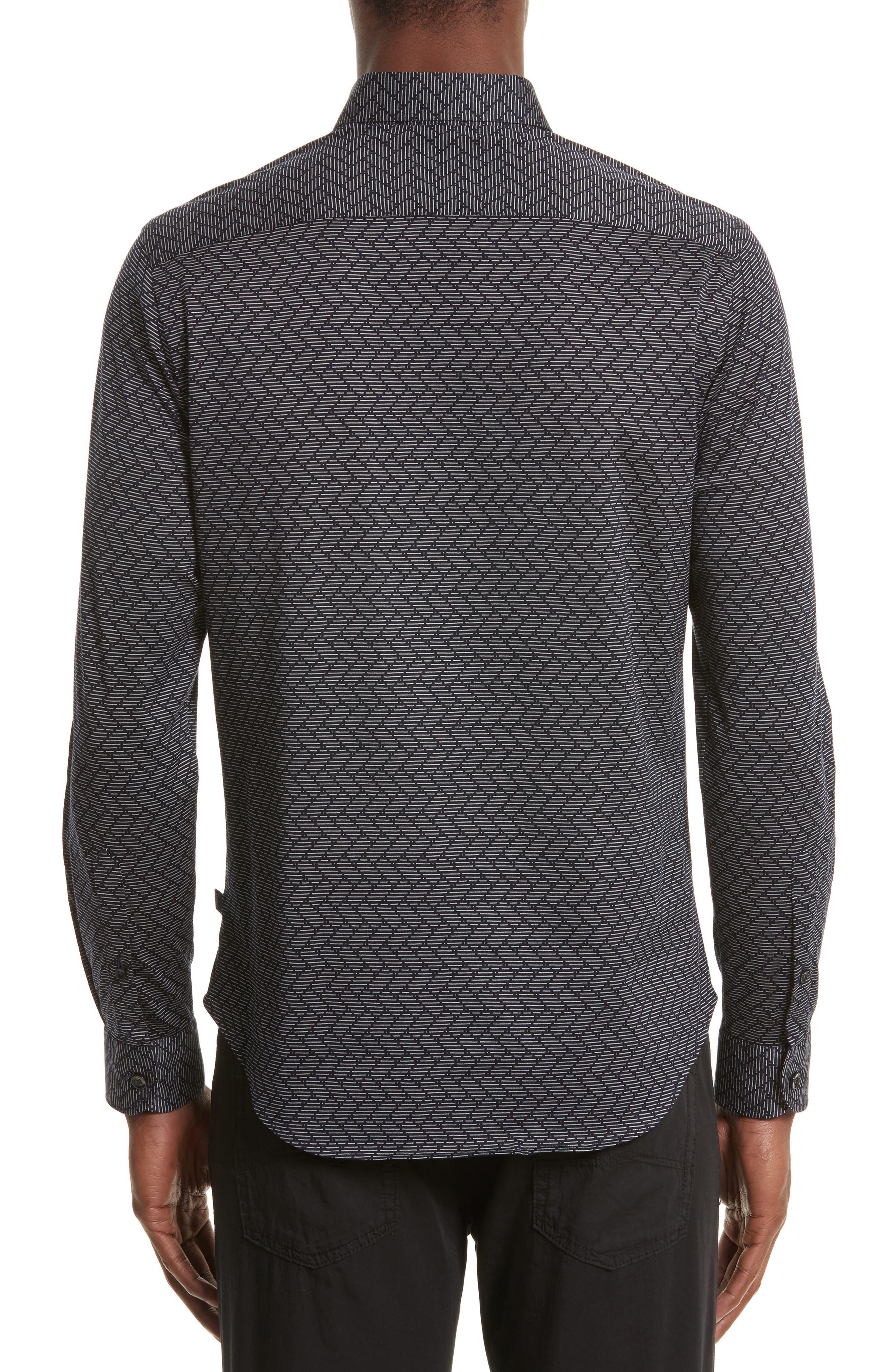 Alternate Image 2  - Armani Collezioni Regular Fit Chevron Stripe Sport Shirt