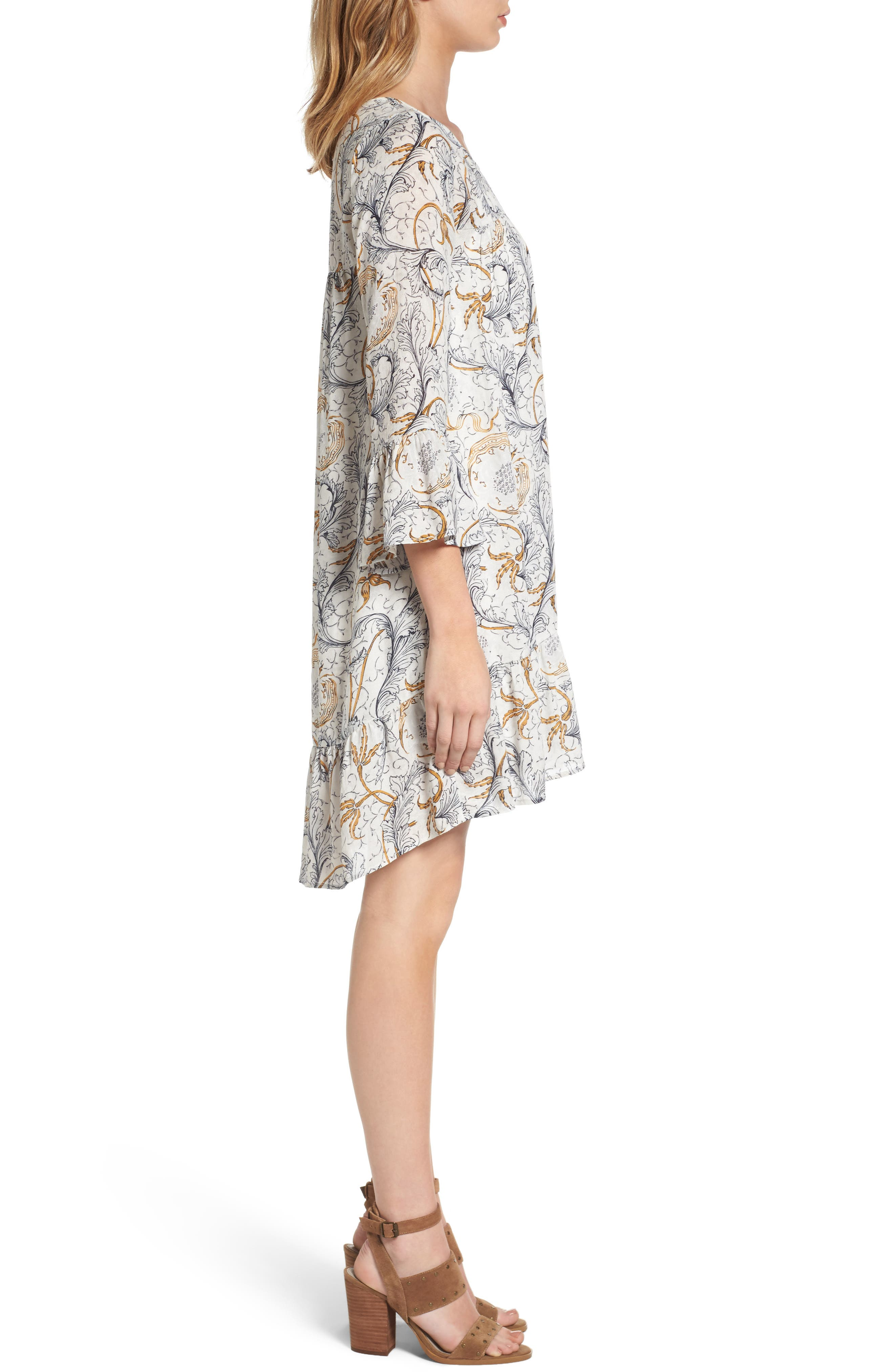 Ruffle Print Dress,                             Alternate thumbnail 3, color,                             Grey Fog Feathered Floral