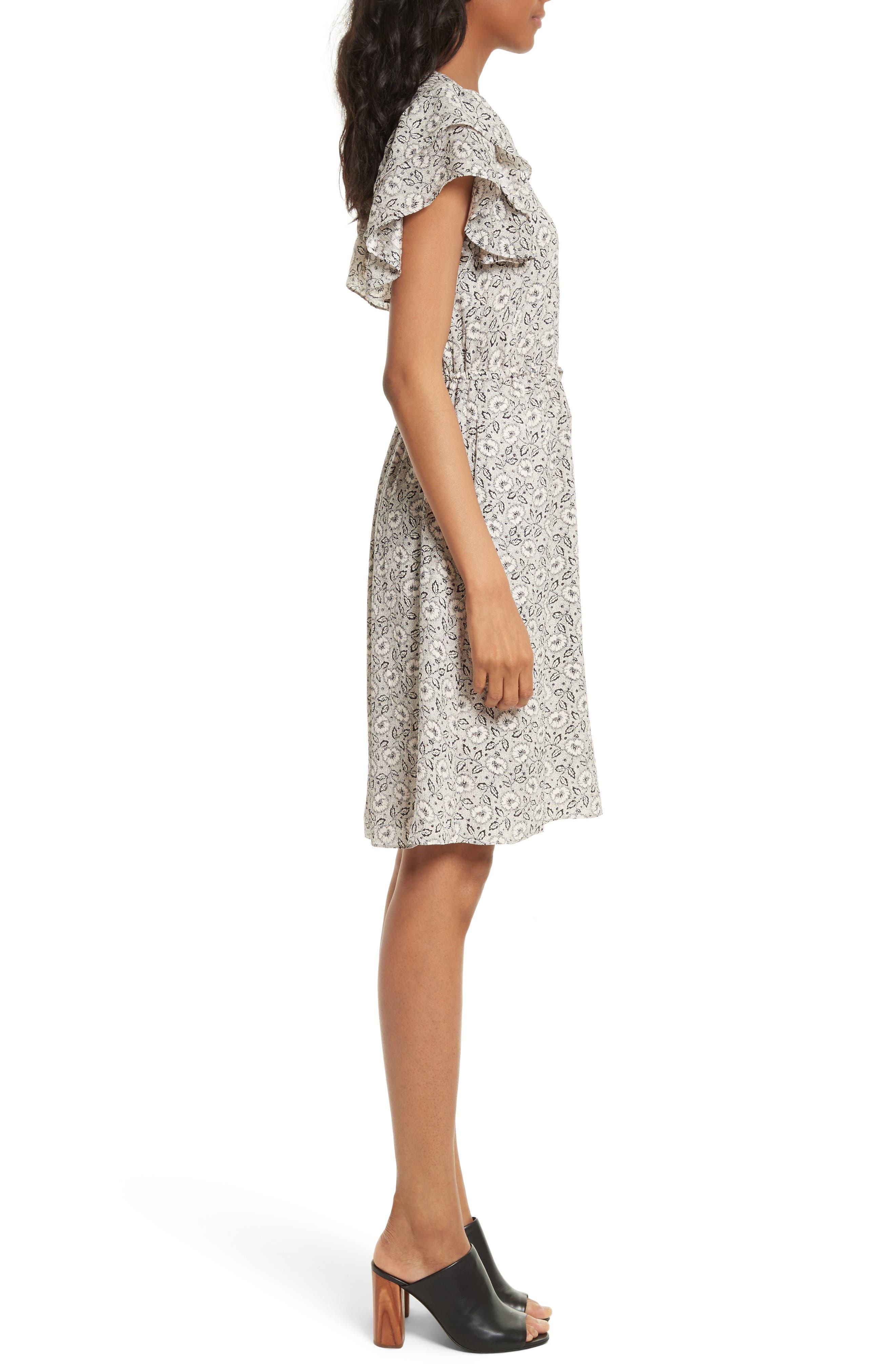 Floral A-Line Silk Dress,                             Alternate thumbnail 3, color,                             Cream Combo