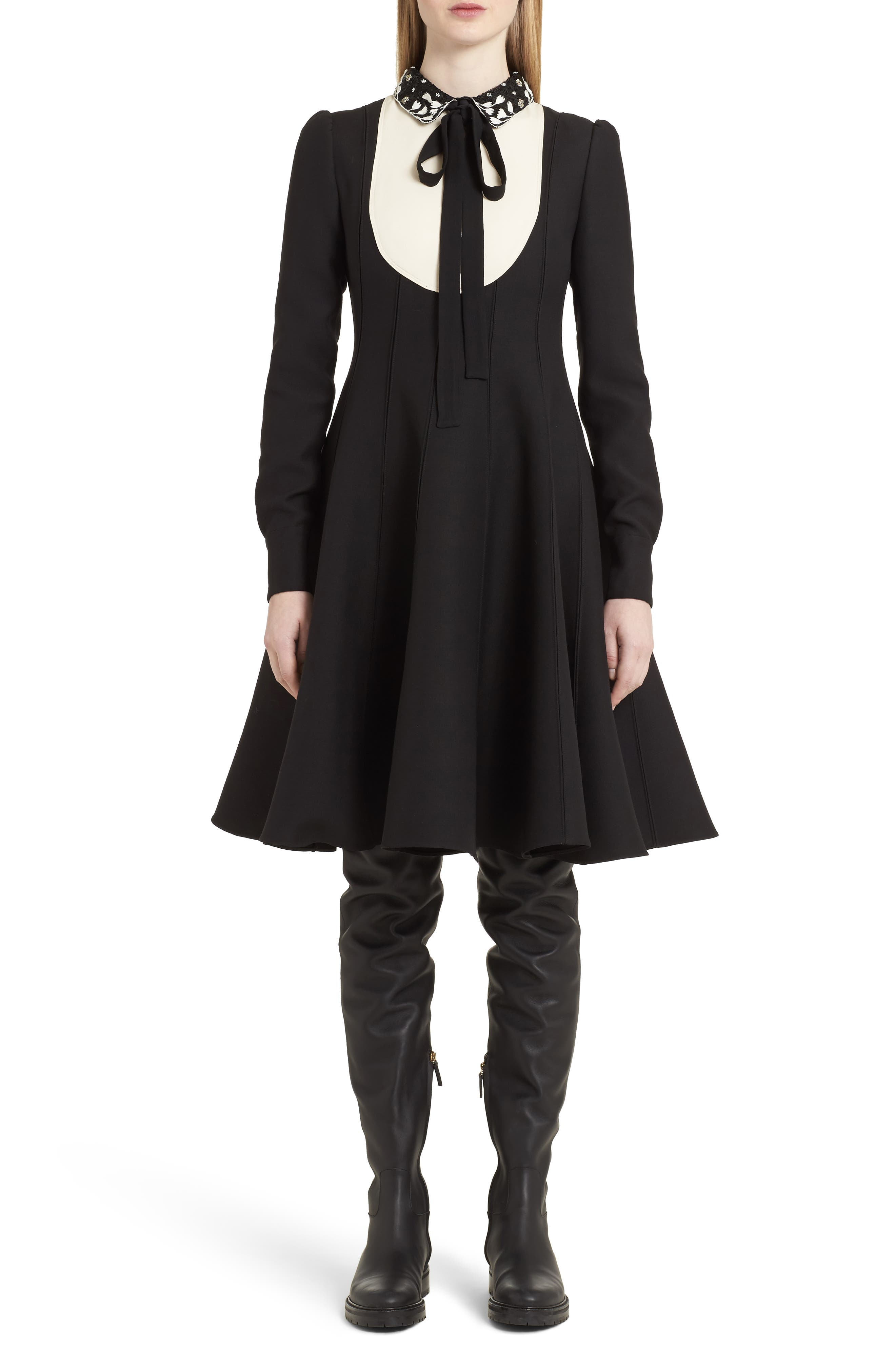 Bib Front Wool & Silk Dress,                         Main,                         color, Black/ Ivory