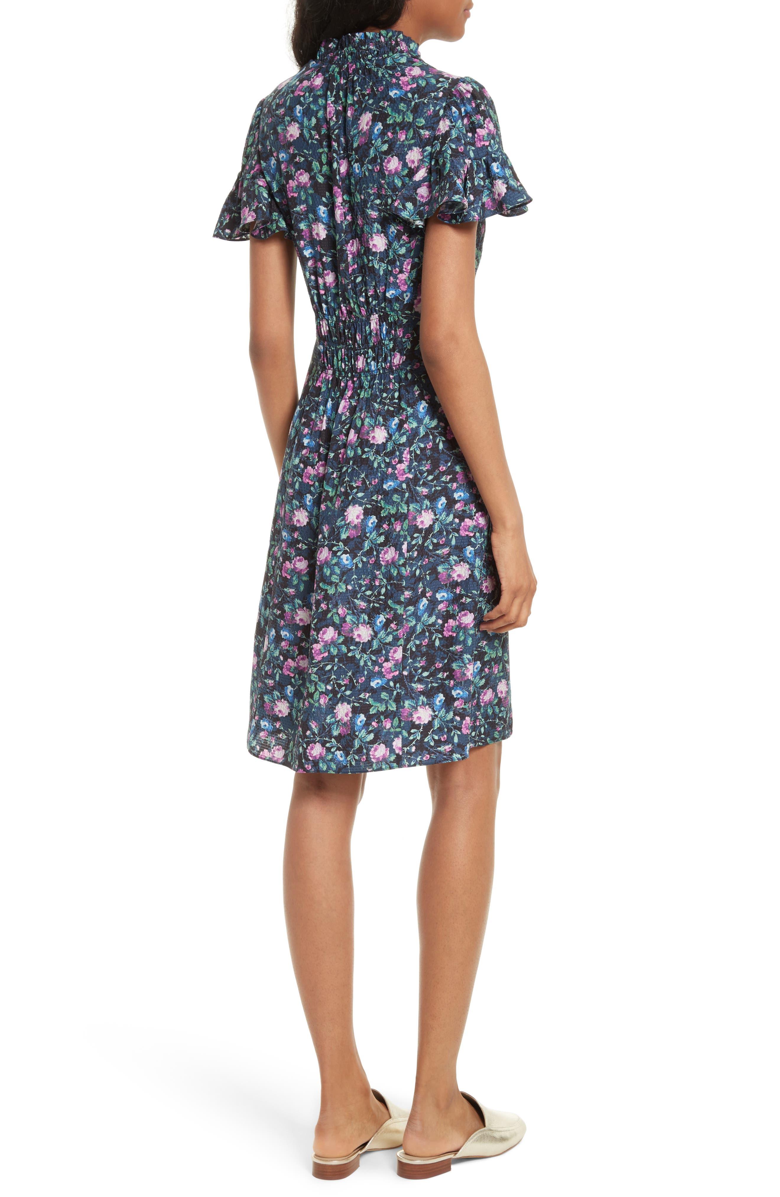 Alternate Image 2  - Rebecca Taylor Ruby Floral Smocked Silk Dress