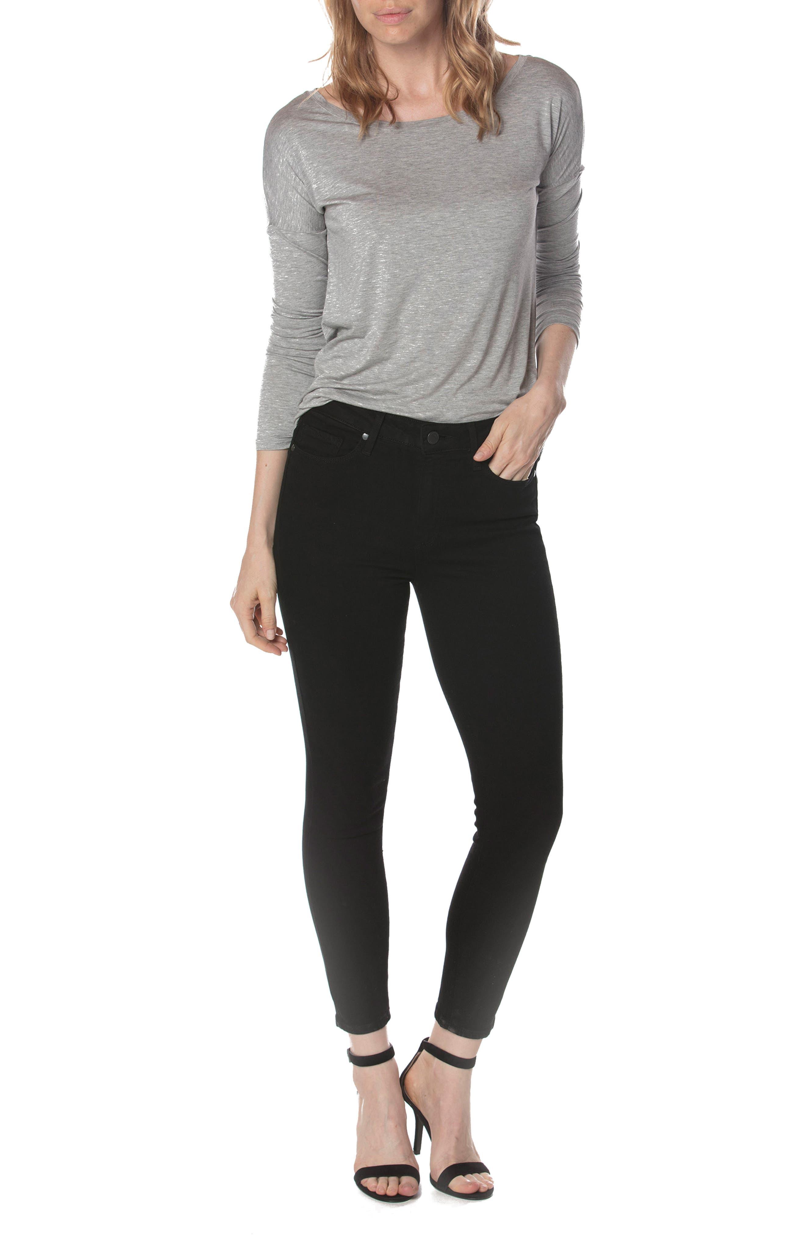 Alternate Image 2  - PAIGE Hoxton High Waist Crop Skinny Jeans (Black Shadow)