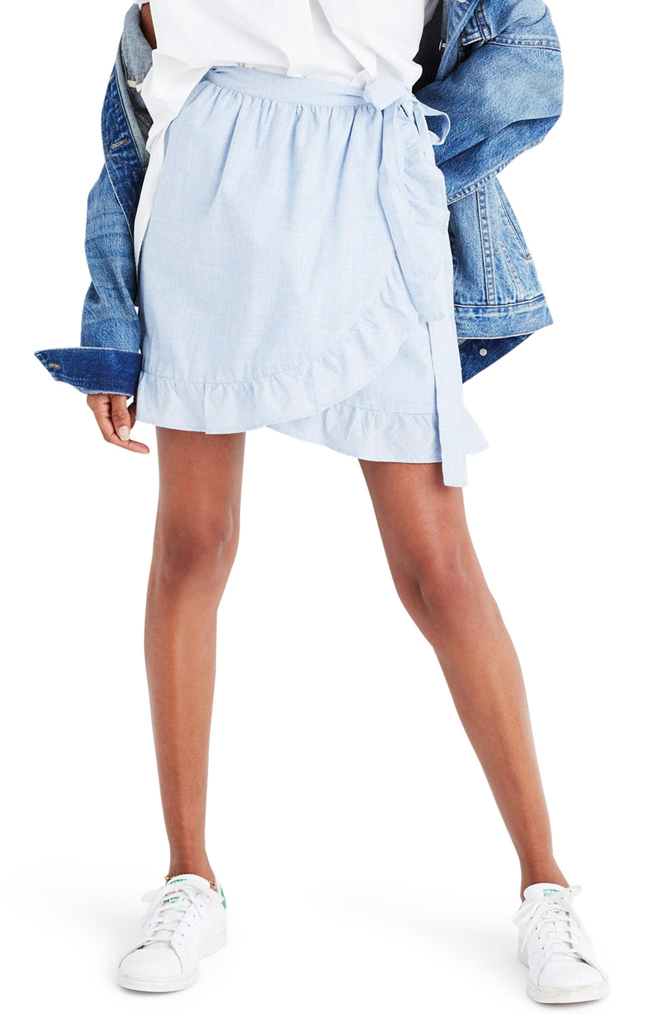 Meadow Wrap Skirt,                         Main,                         color, Craft Blue