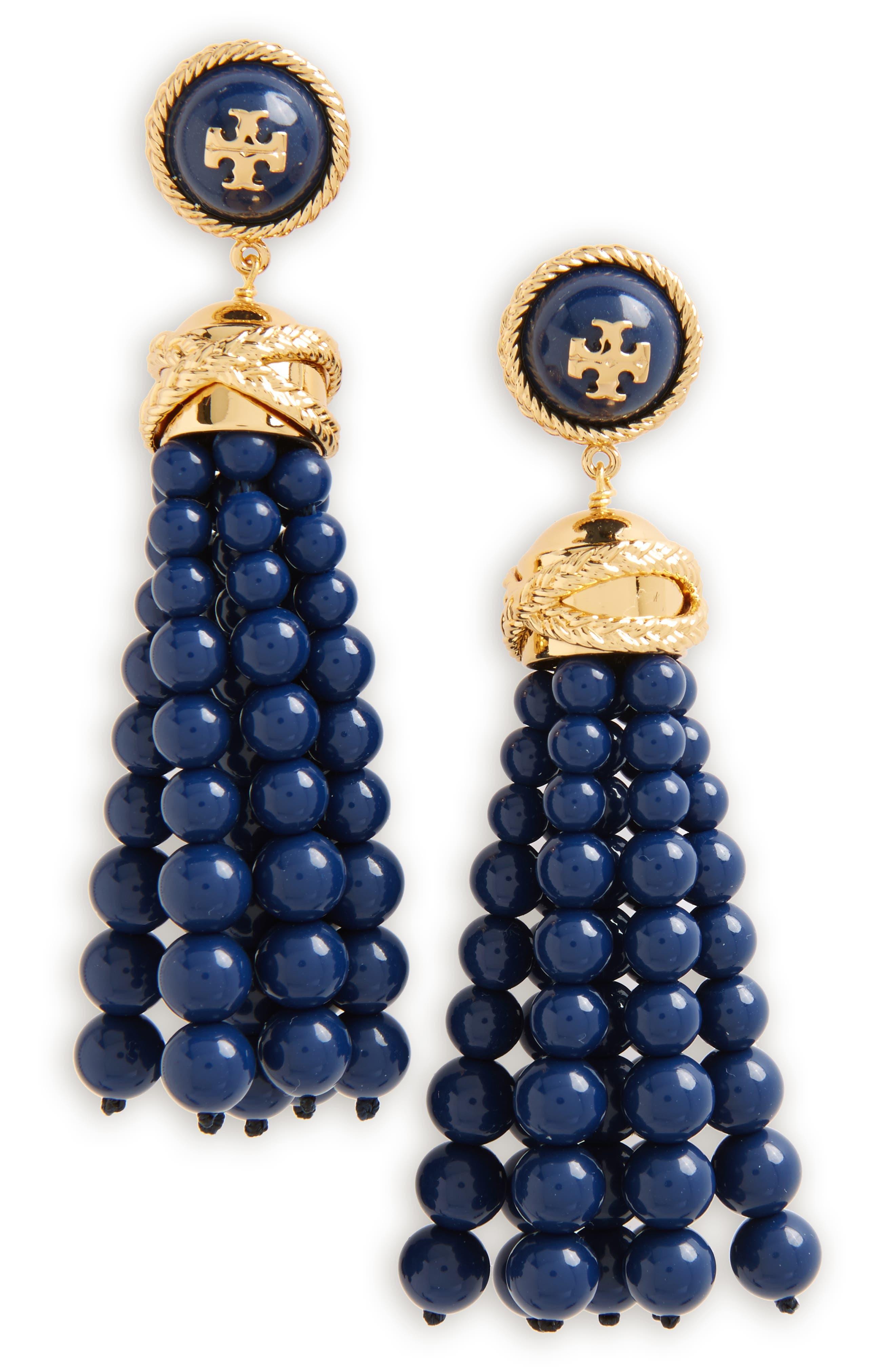 Beaded Tassel Drop,                         Main,                         color, Tory Navy / Tory Gold