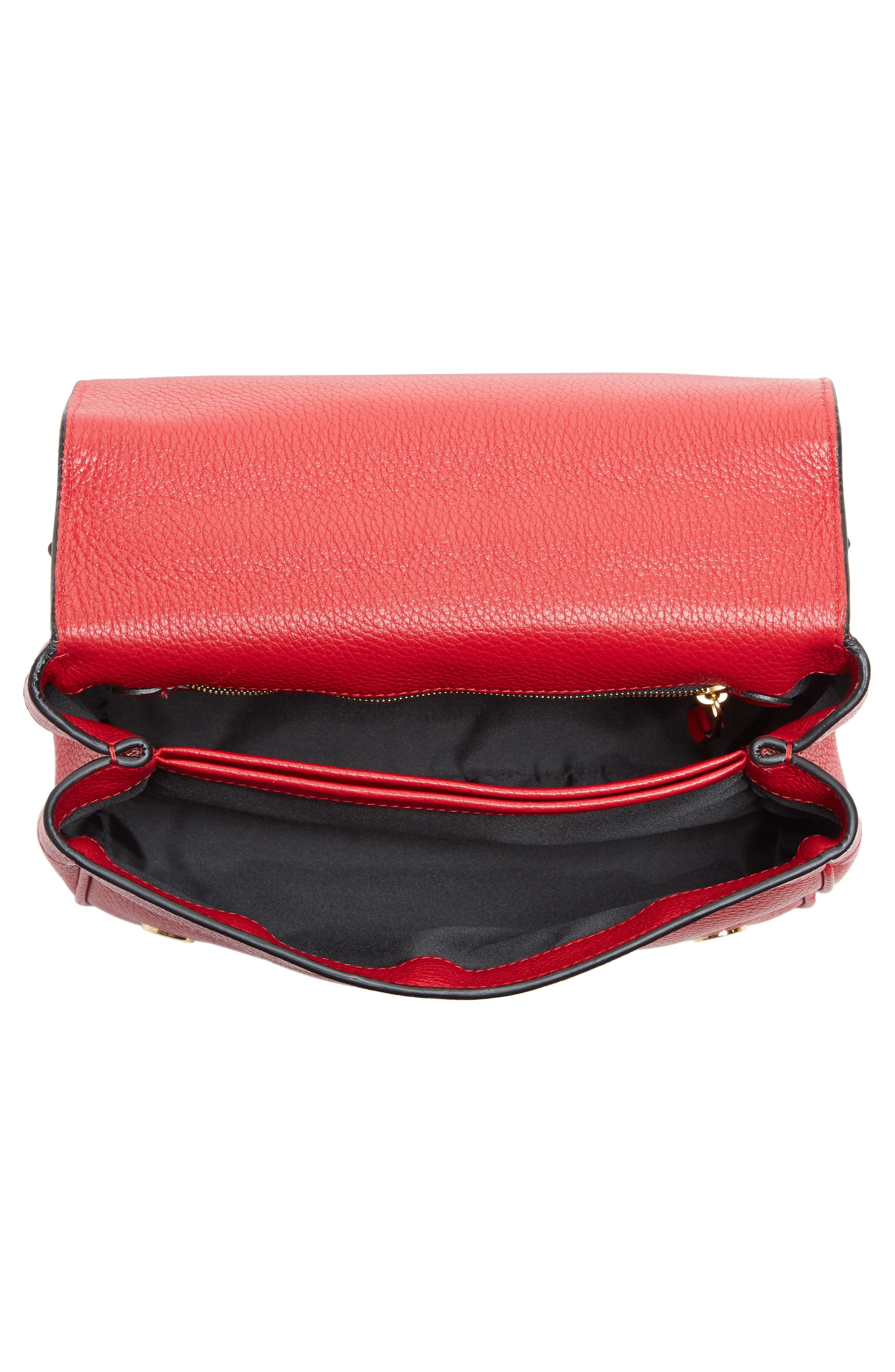 Grainy-B Leather Crossbody Bag,                             Alternate thumbnail 4, color,                             Red