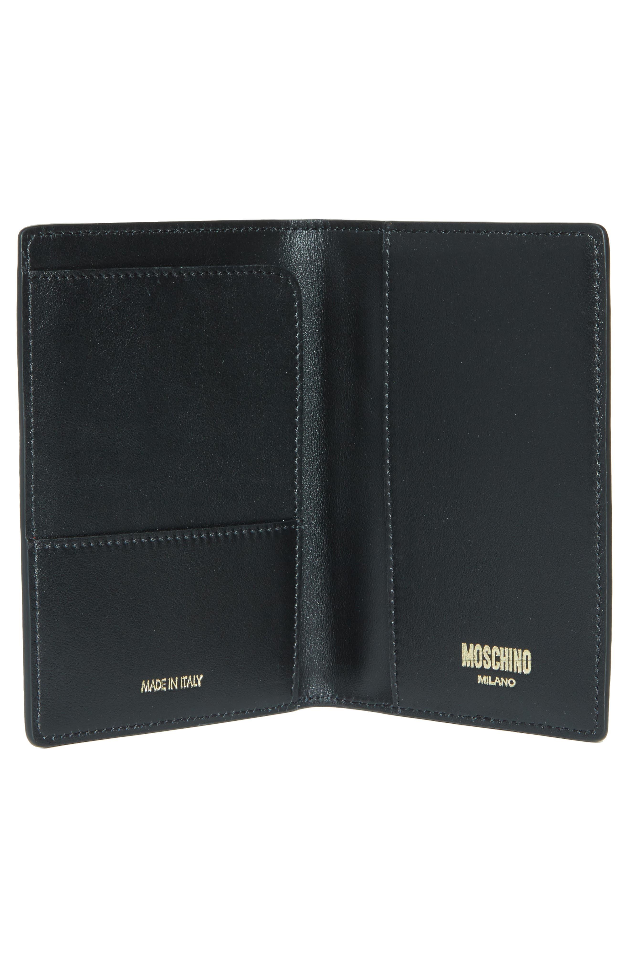 Alternate Image 2  - Moschino Logo Leather Passport Holder