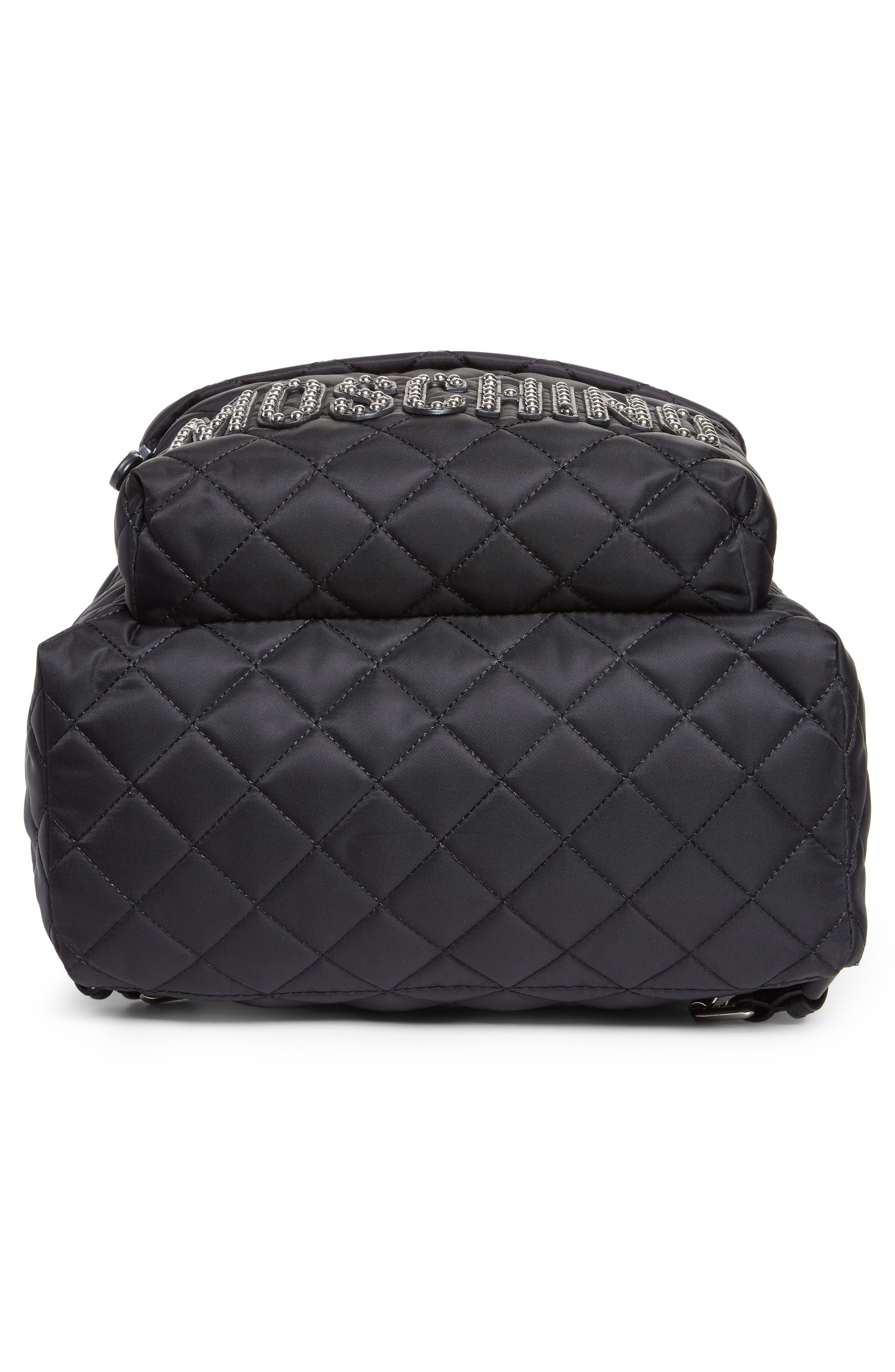 Alternate Image 6  - Moschino Studded Logo Quilted Nylon Backpack
