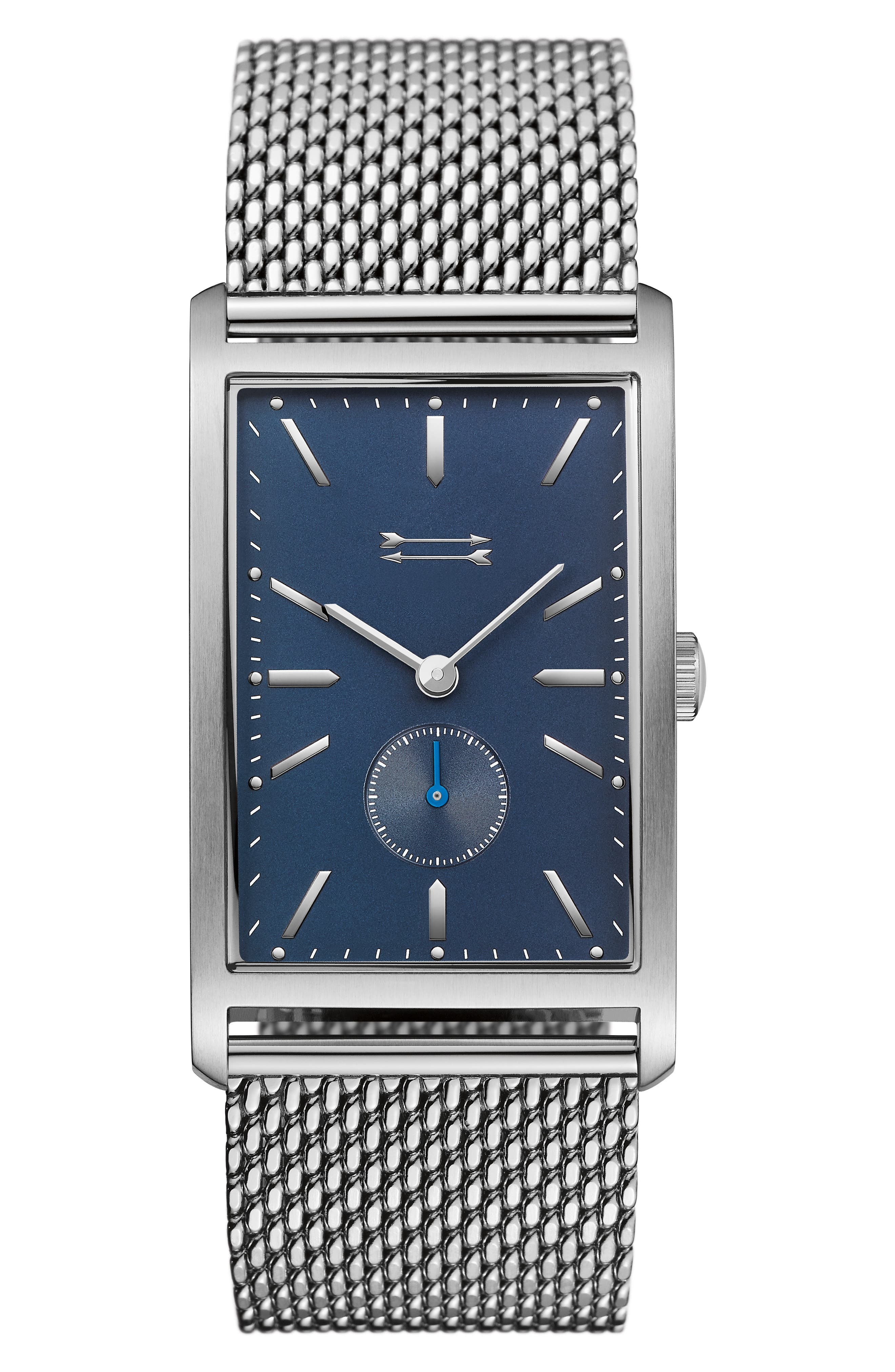 Pesaro Mesh Strap Watch, 27mm,                         Main,                         color, Silver/ Blue/ Silver