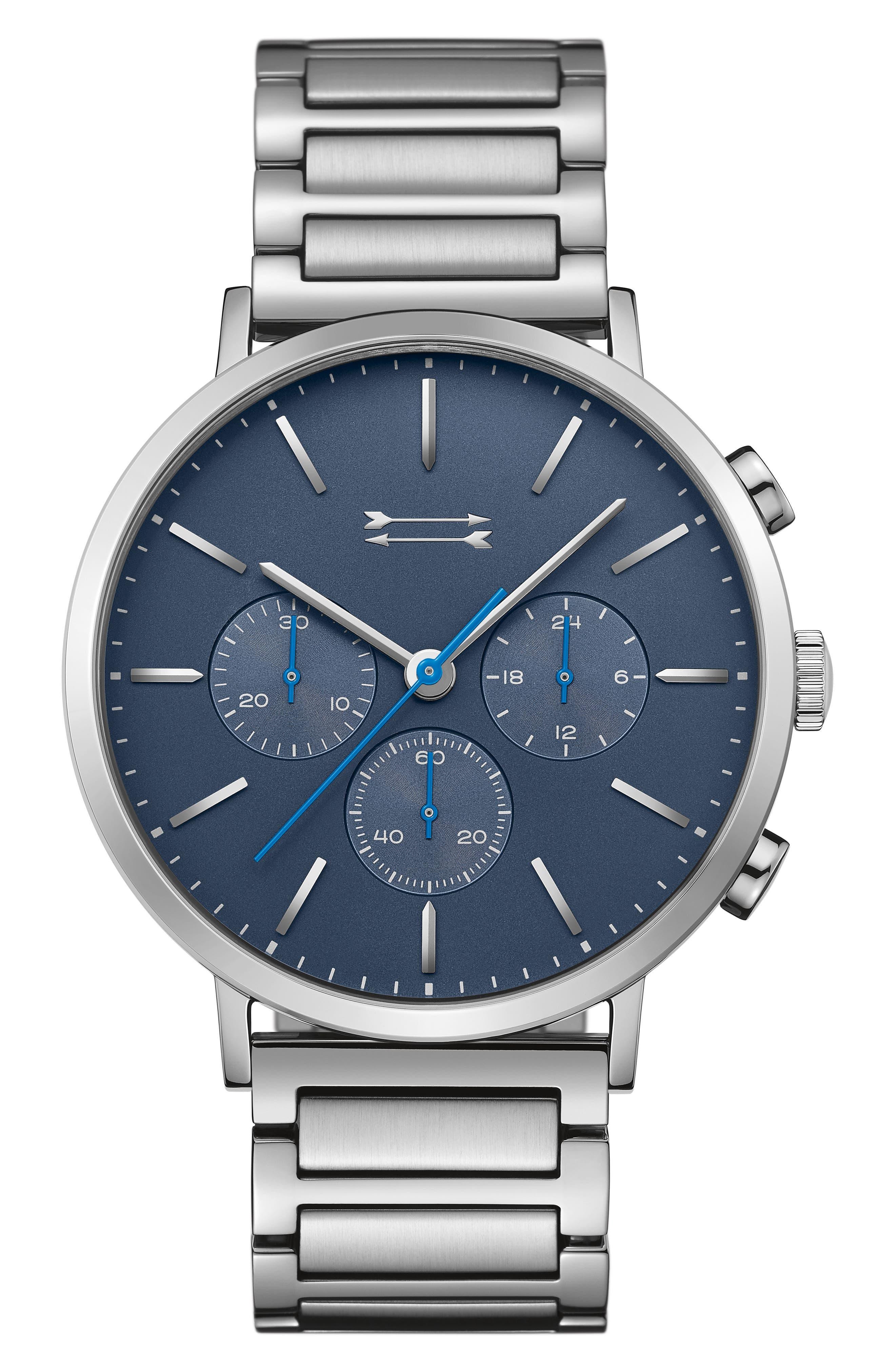 URI MINKOFF Griffith Bracelet Watch, 43Mm in Silver/ Blue/ Silver