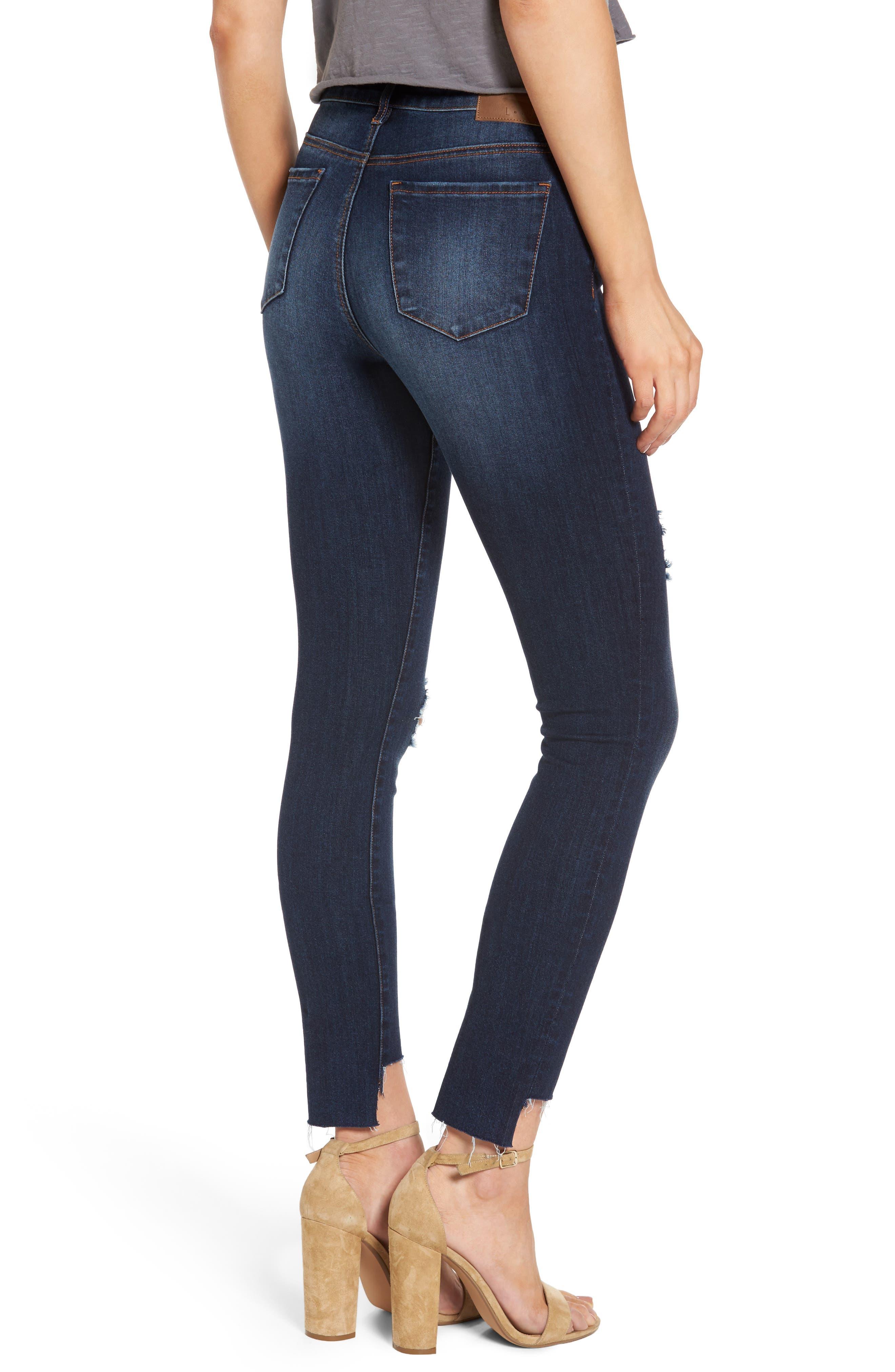 Alternate Image 2  - Leith Ripped Step Hem Skinny Jeans (Destroy Medium)