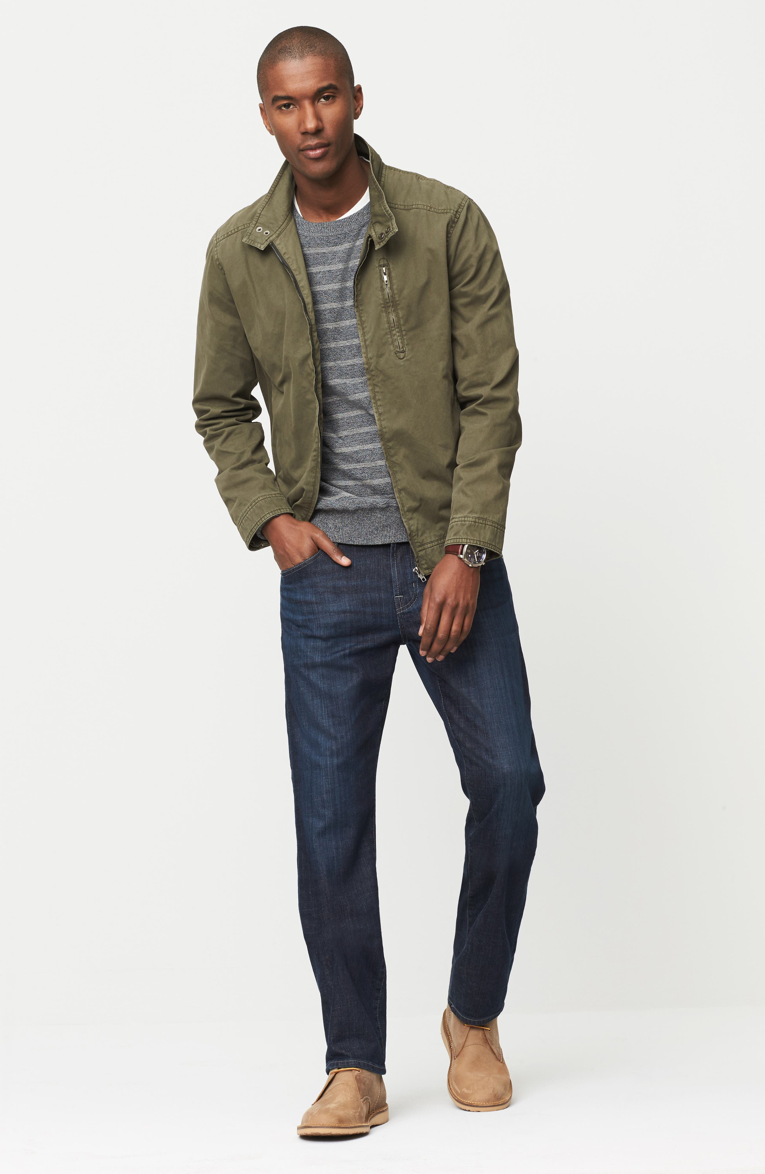 Rodd & Gunn Jacket, Billy Reid Sweatshirt & AG Jeans Outfit with Accessories