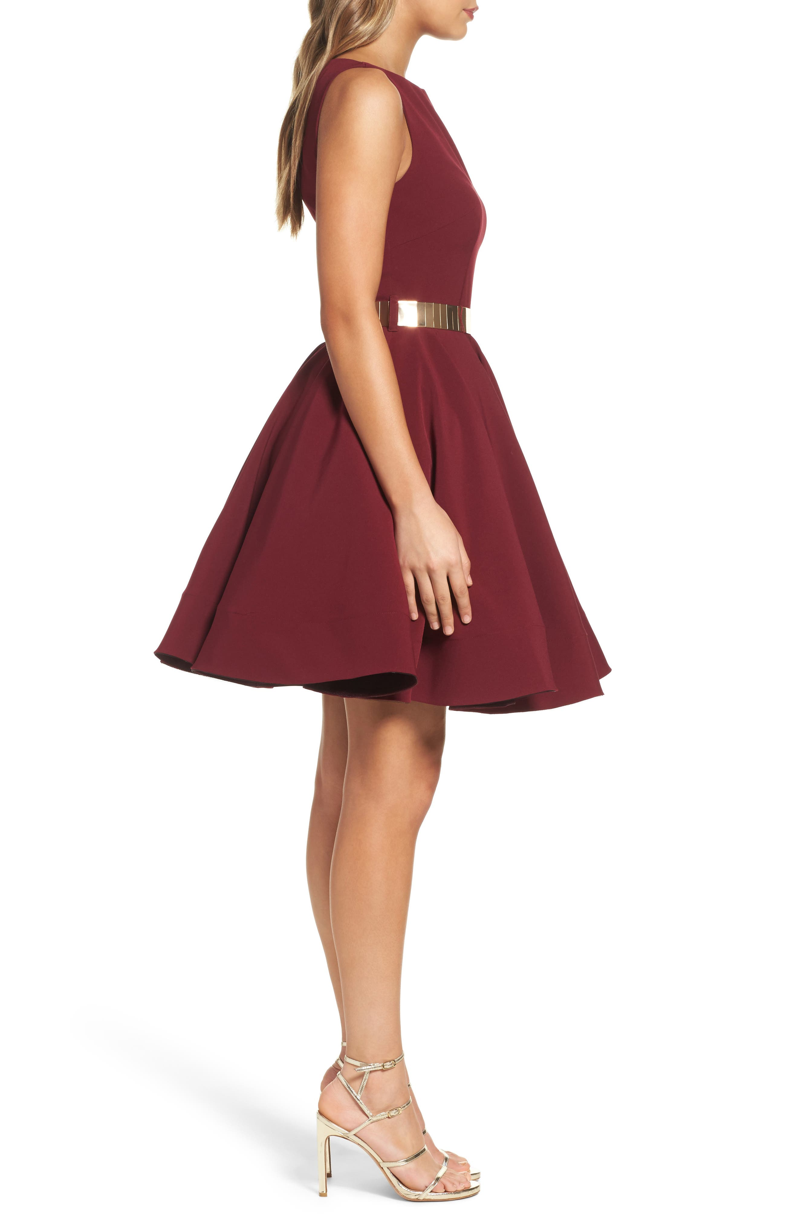 Belted Fit & Flare Dress,                             Alternate thumbnail 3, color,                             Wine