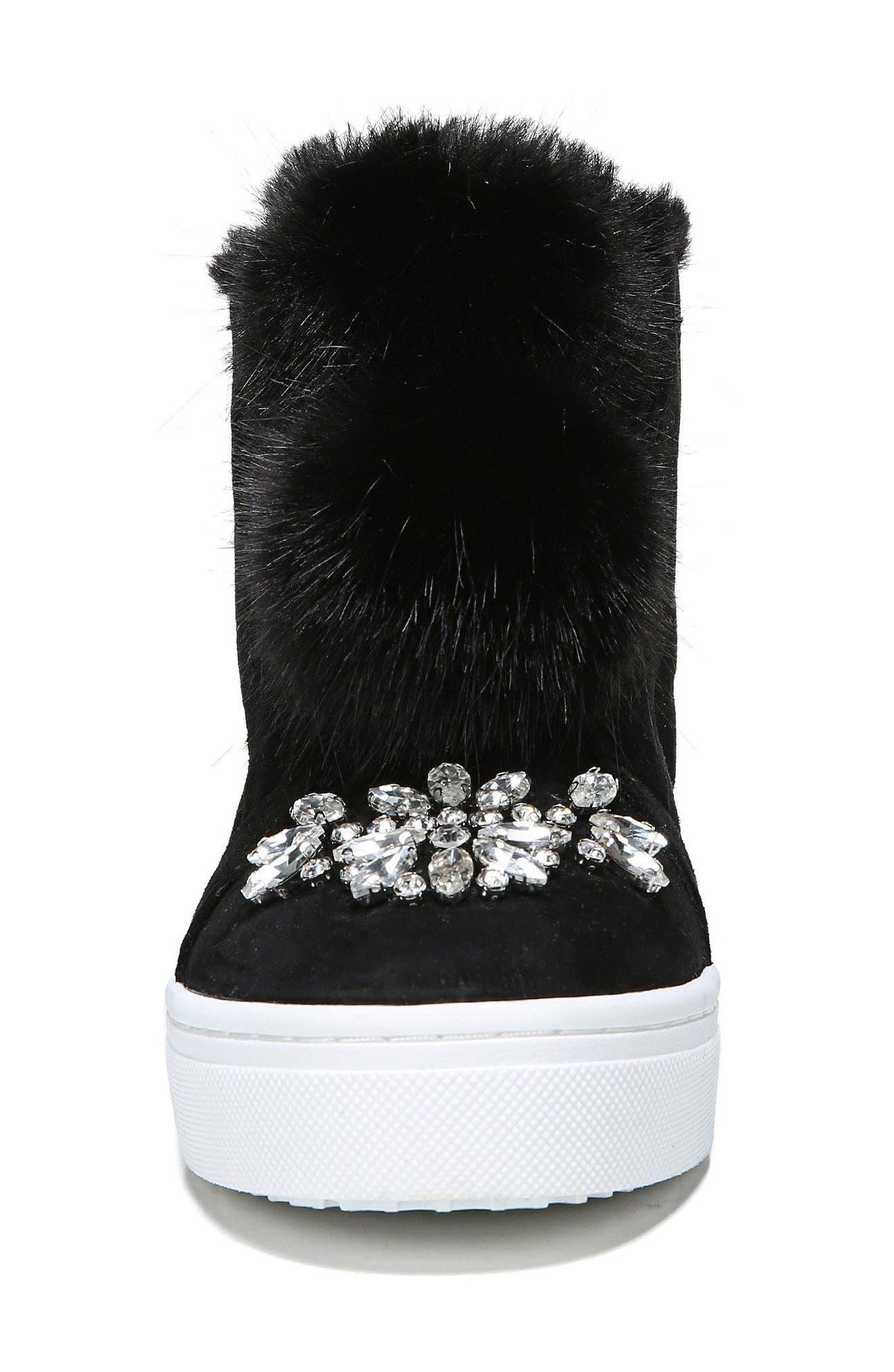 Leland Faux Fur Sneaker,                             Alternate thumbnail 4, color,                             Black Suede