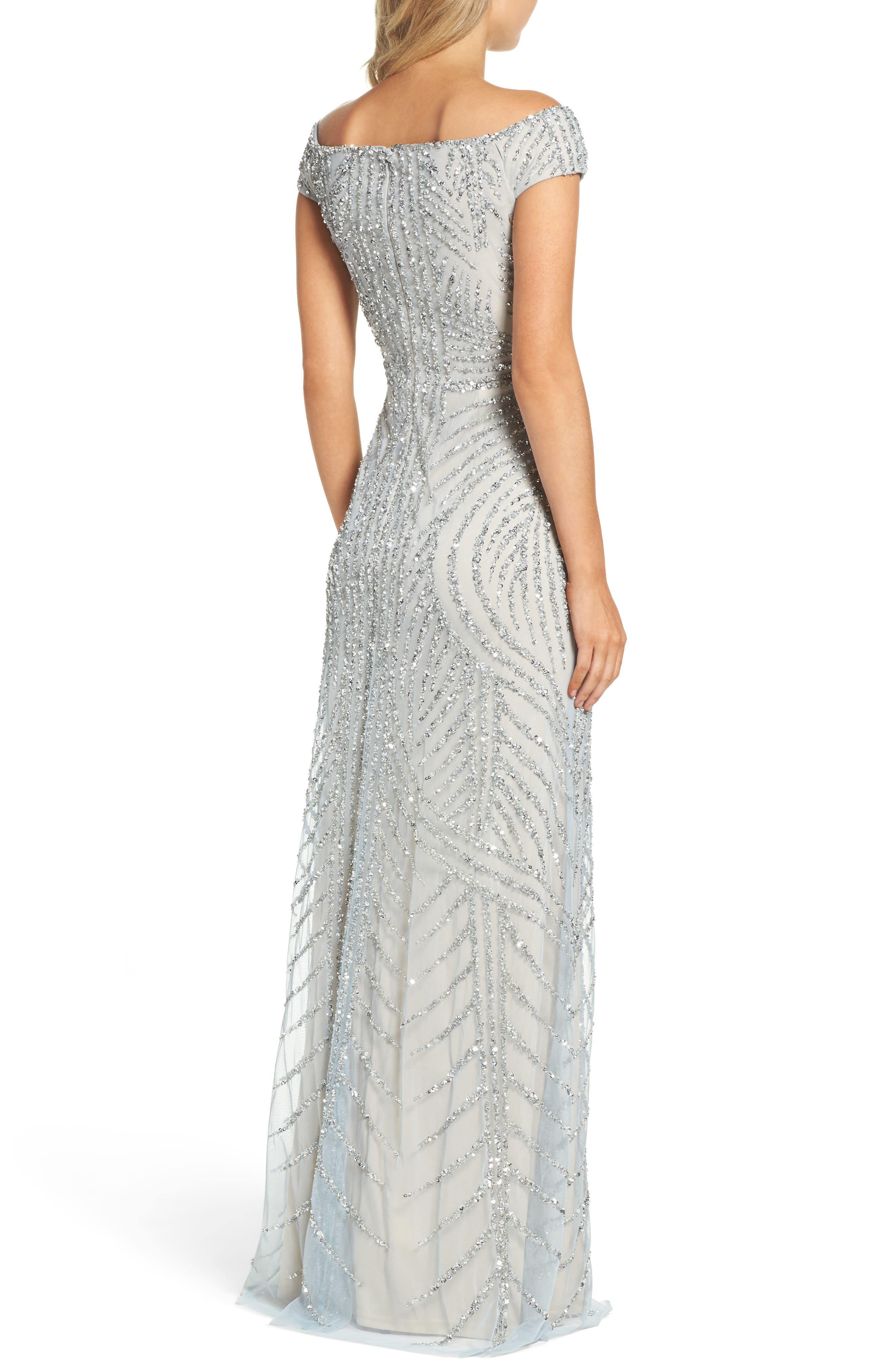 Alternate Image 2  - Adrianna Papell Off the Shoulder Beaded Gown (Regular & Petite)