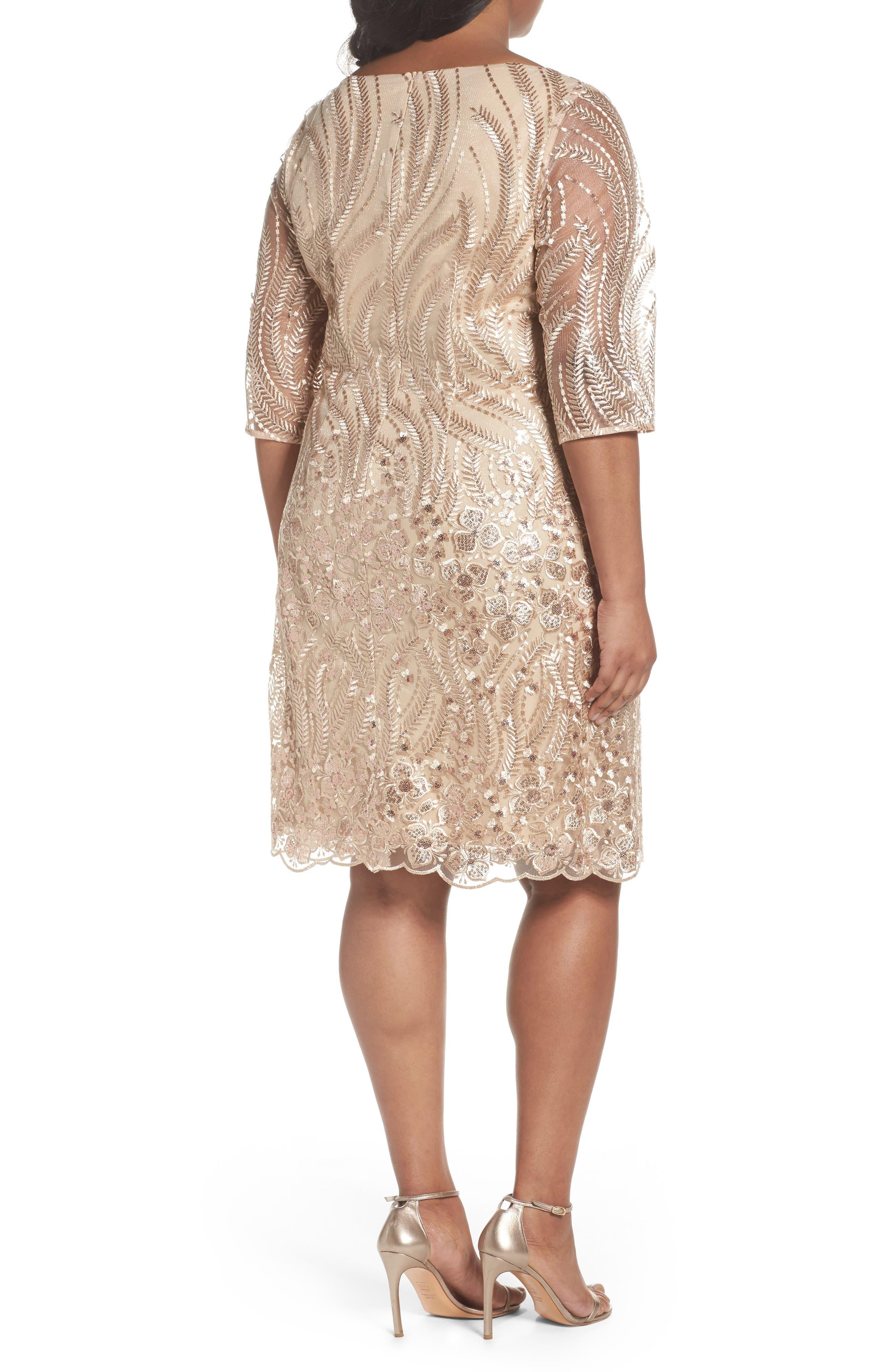 Embellished Sheath Dress,                             Alternate thumbnail 2, color,                             Champagne