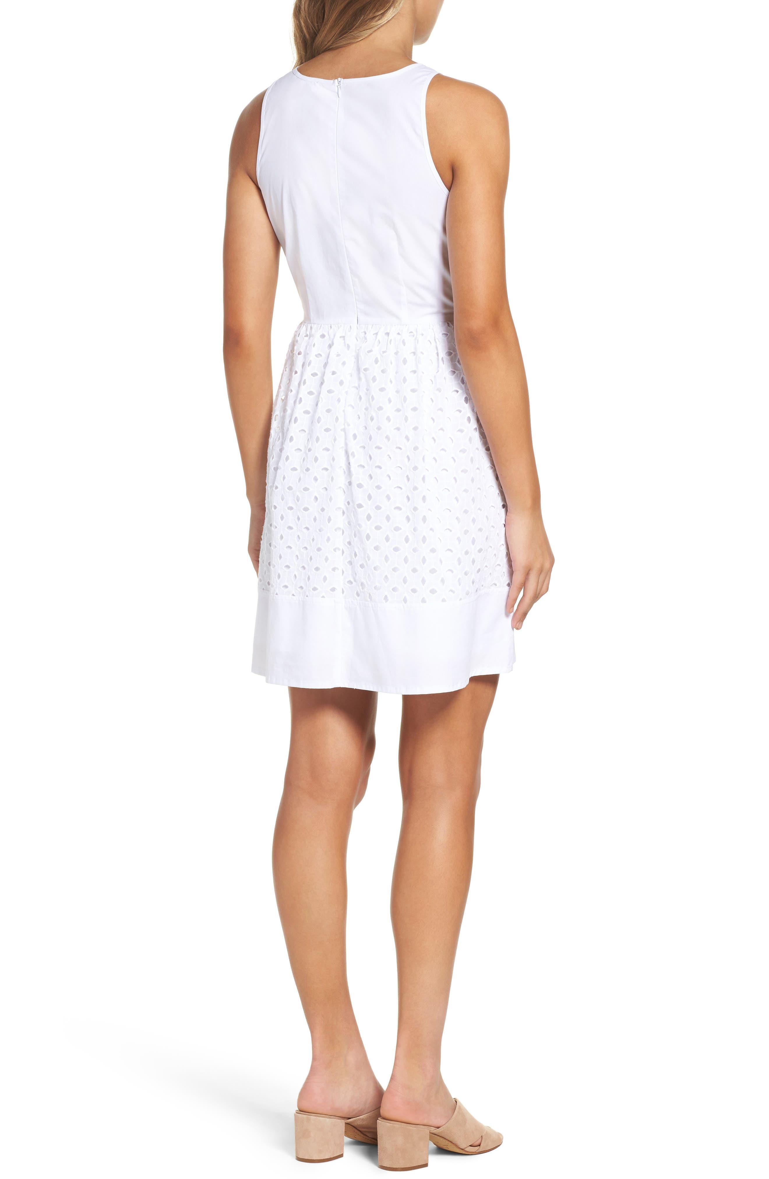 Eyelet Fit & Flare Dress,                             Alternate thumbnail 2, color,                             White
