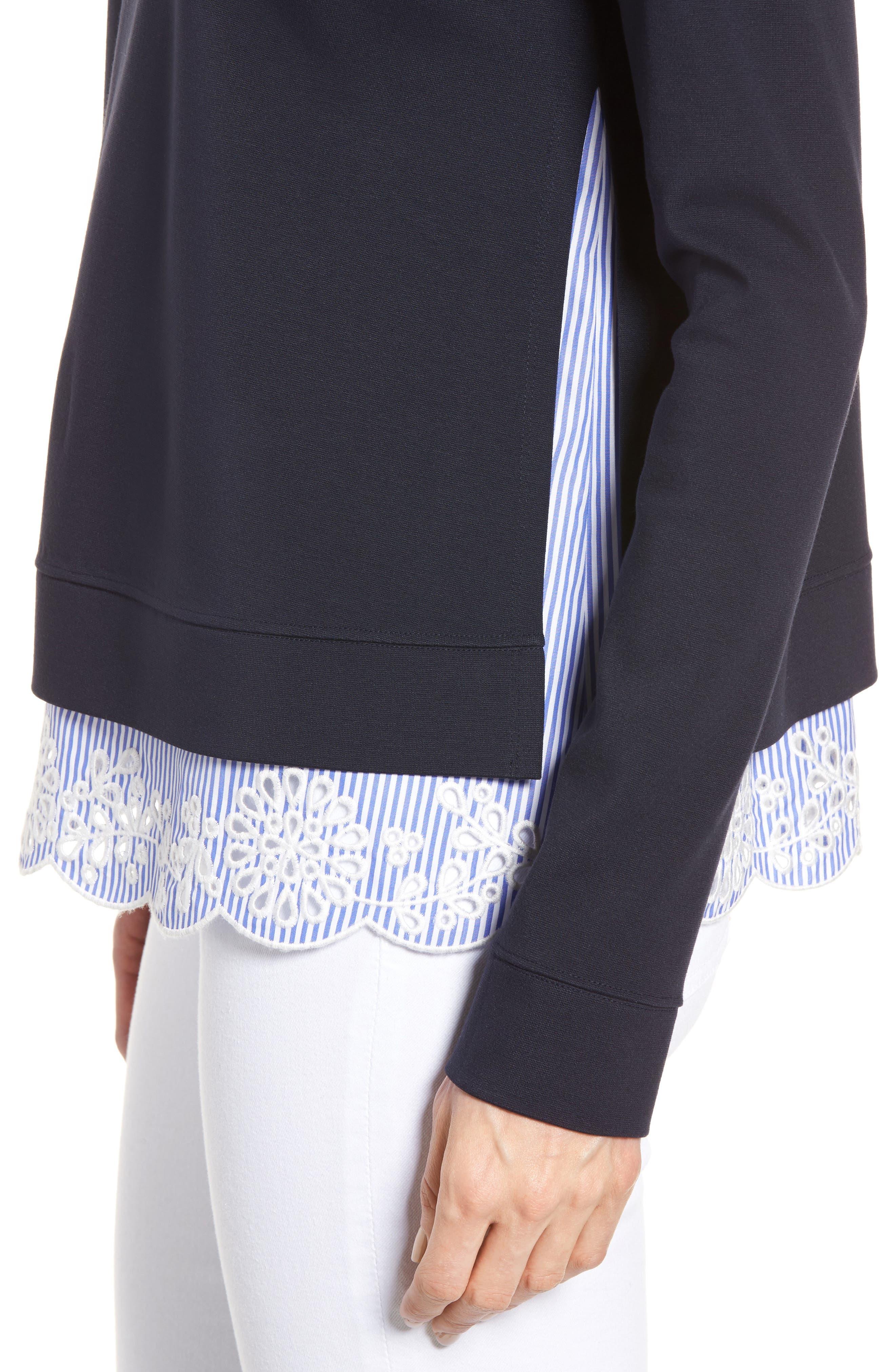 Woven Inset Ponte Knit Sweatshirt,                             Alternate thumbnail 4, color,                             Navy Night