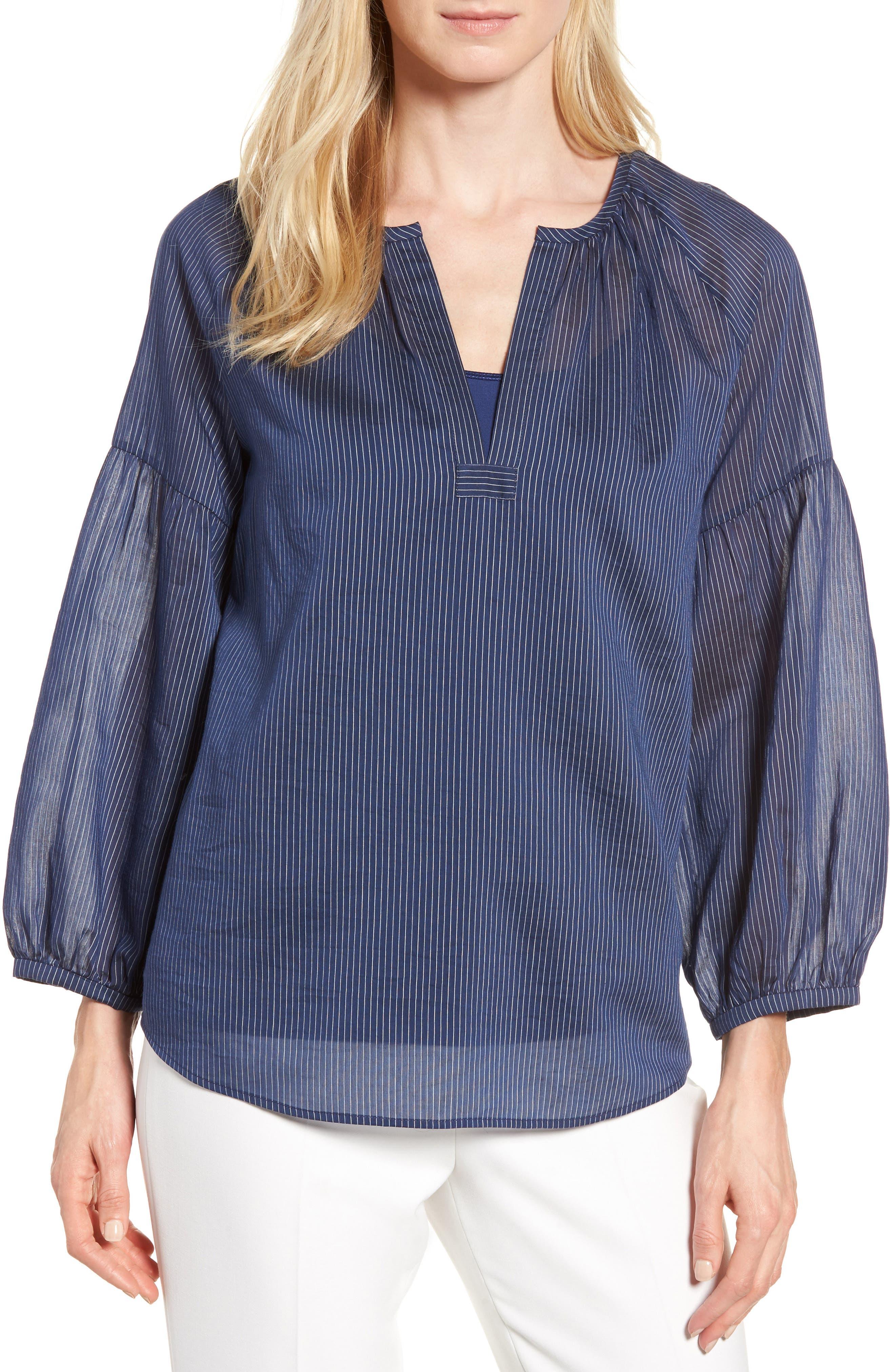 Stripe Cotton & Silk Top,                         Main,                         color, Navy Stripe