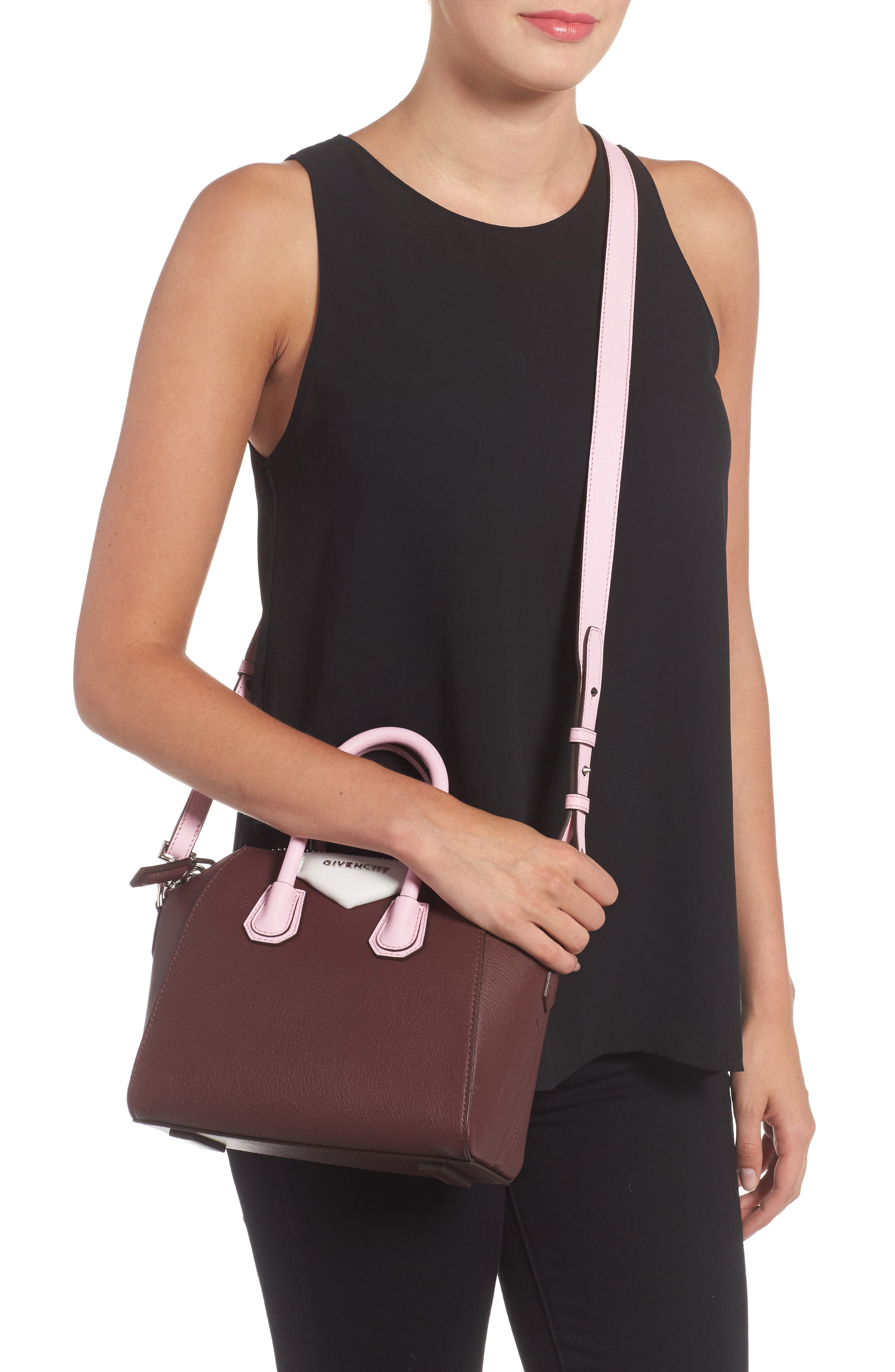 Mini Antigona Leather Top Handle Satchel,                             Alternate thumbnail 2, color,                             Burgundy/ Pink
