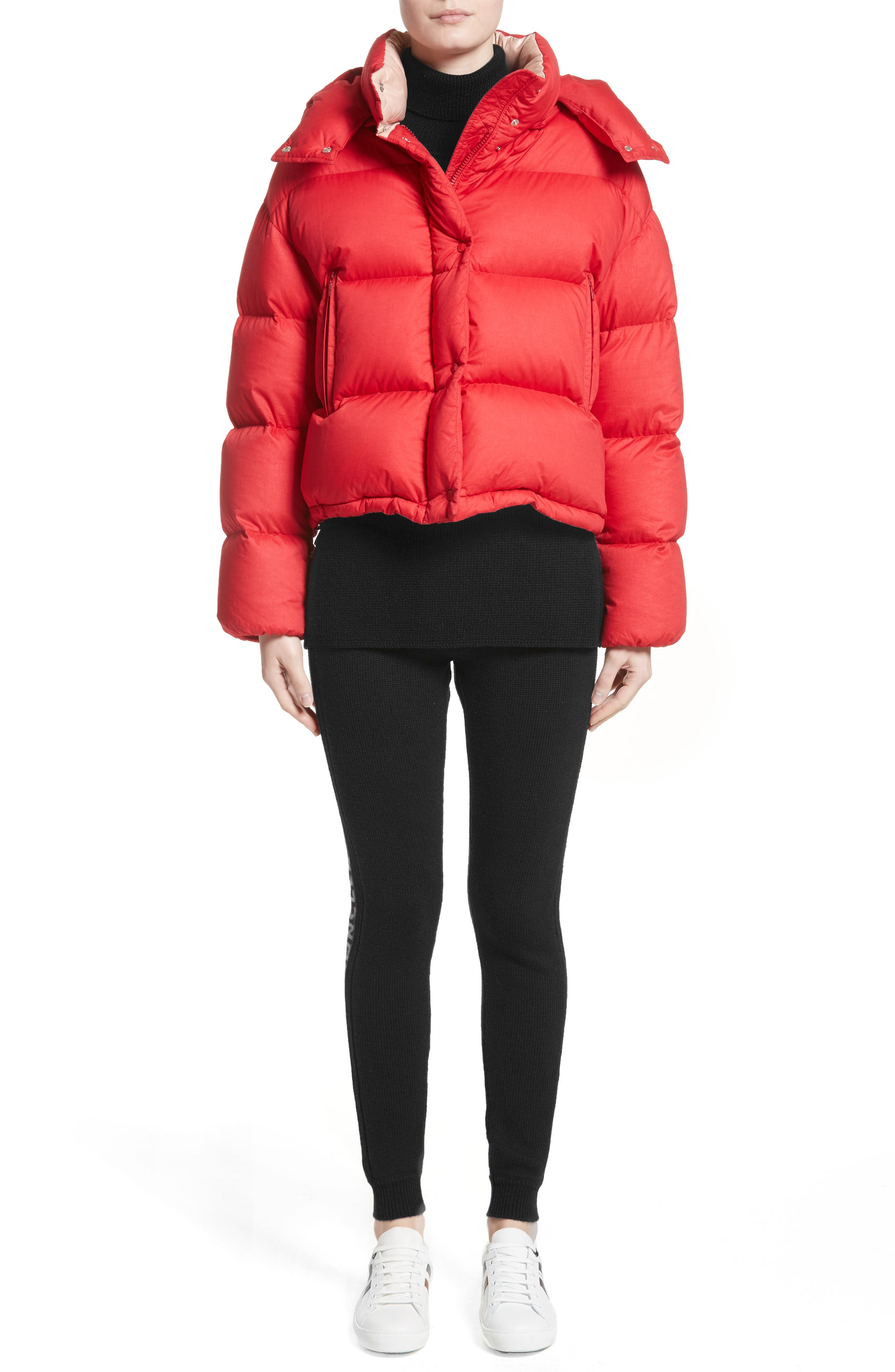 Paeonia Quilted Puffer Jacket,                             Alternate thumbnail 7, color,                             Red